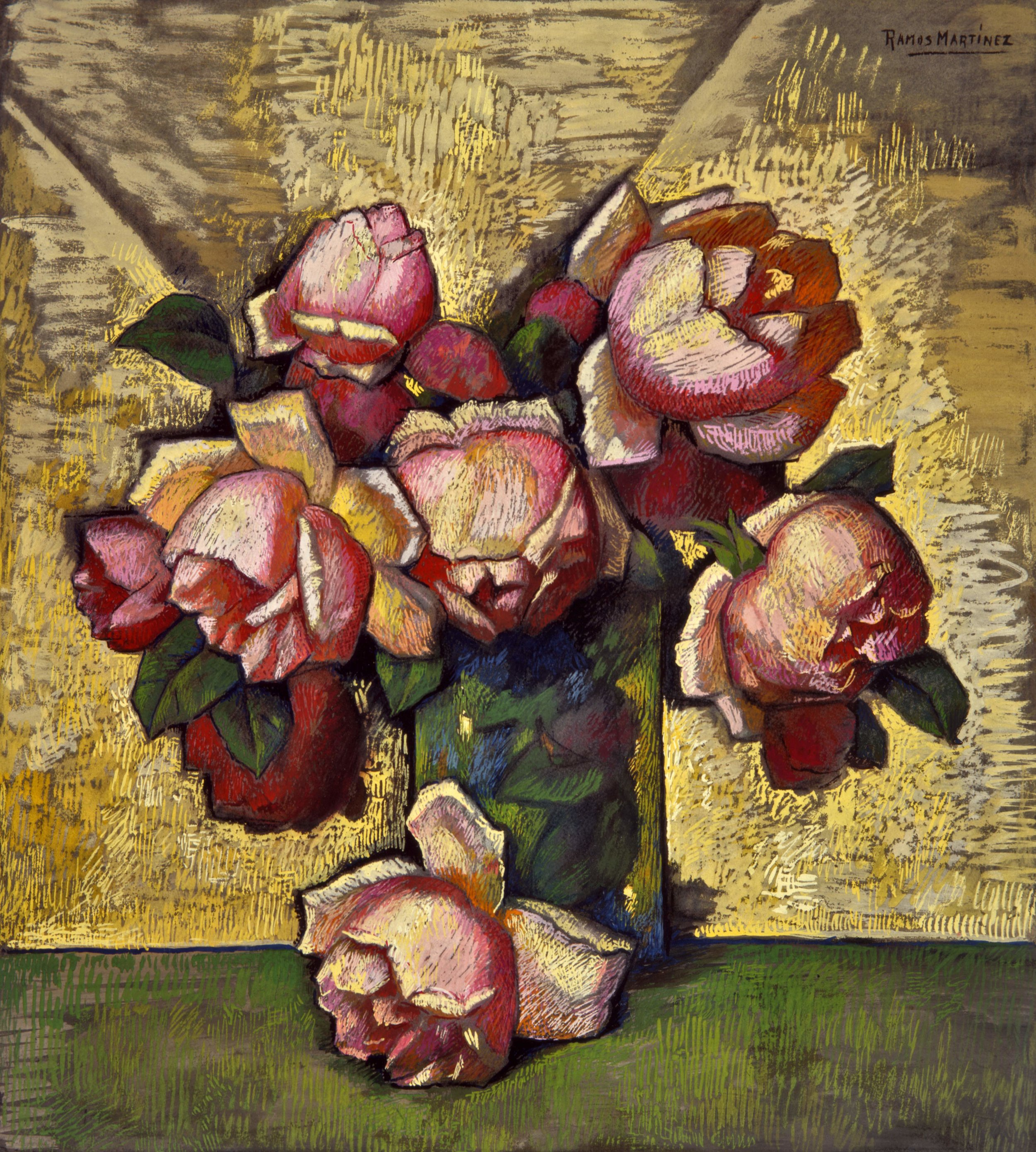 Rosas / Pink Roses  ca. 1938 tempera on paper mounted to ragboard / temple sobre papel sobre tabla 21.1 x 18.8 inches; 53.7 x 47.6 centímetros Private collection