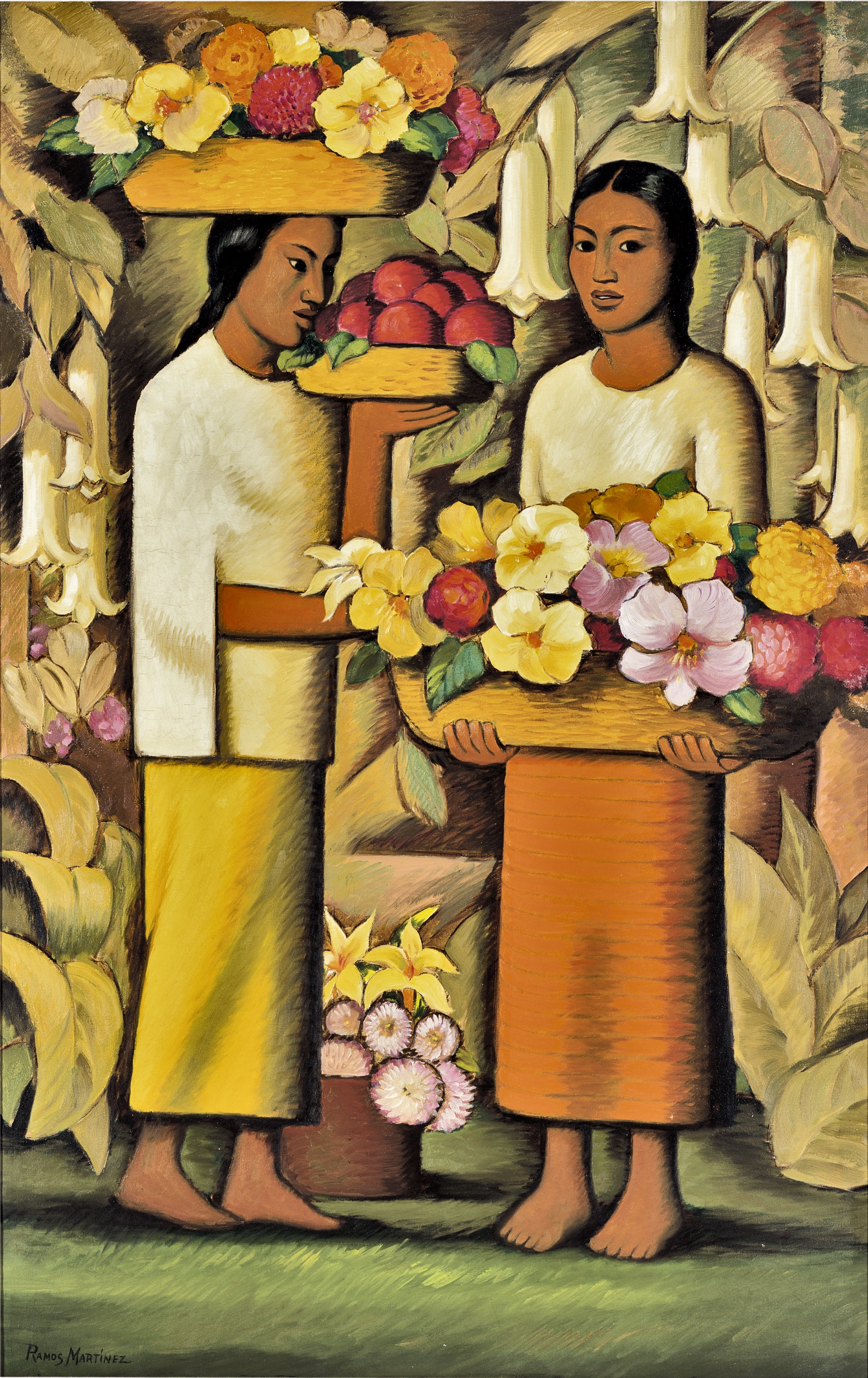 Mujeres con Flores (Grande) / Women with Flowers (Large)  ca. 1938 oil on canvas / óleo sobre tela 56.5 x 36 inches; 143.5 x 91.4 centímetros Private collection
