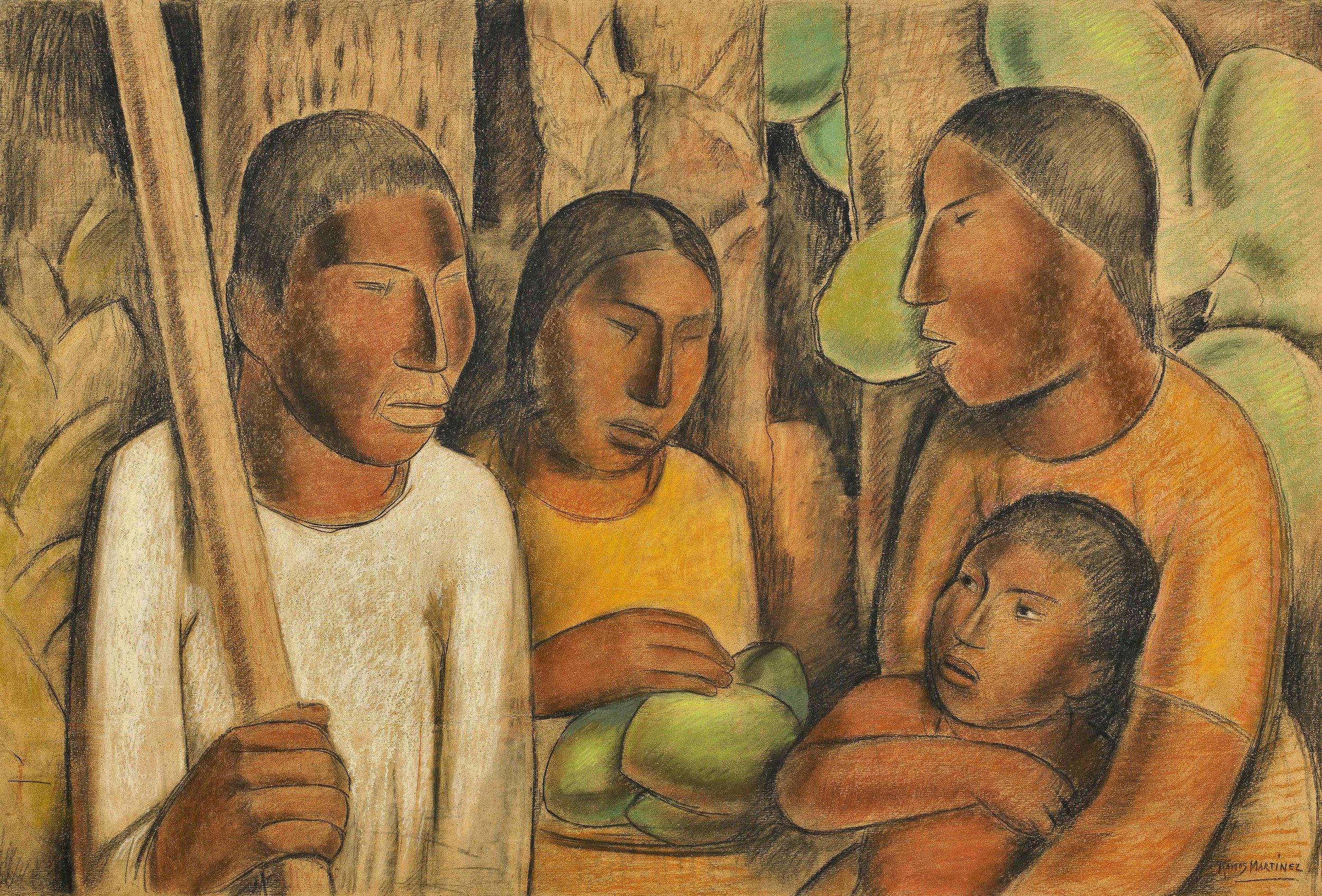 Vendedore de Cocos / Coconut vendor  ca. 1938 tempera, pastel, and Conté crayon on paper / temple, pintura al pastel y crayon Conté sobre papel 24.3 x 36.3 inches; 61.6 x 92.1 centímetros