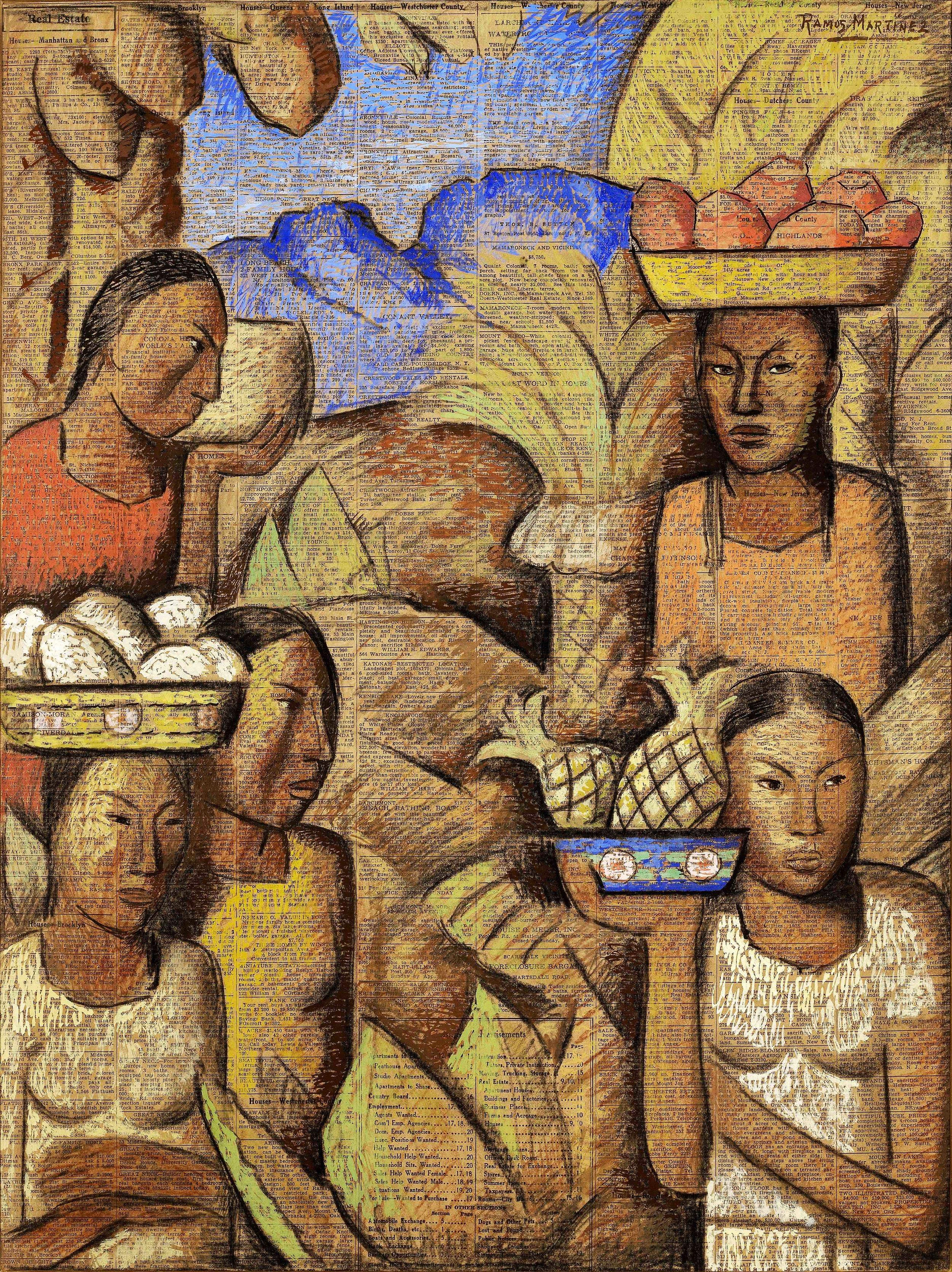 Vendedoras de Frutas / Fruit Vendors  ca. 1938 tempera and charcoal on newsprint / temple y carbón sobre papel periódico ( New York Times , July 17, 1938) 21 x 16 inches; 53.3 x 40.6 centímetros Private collection