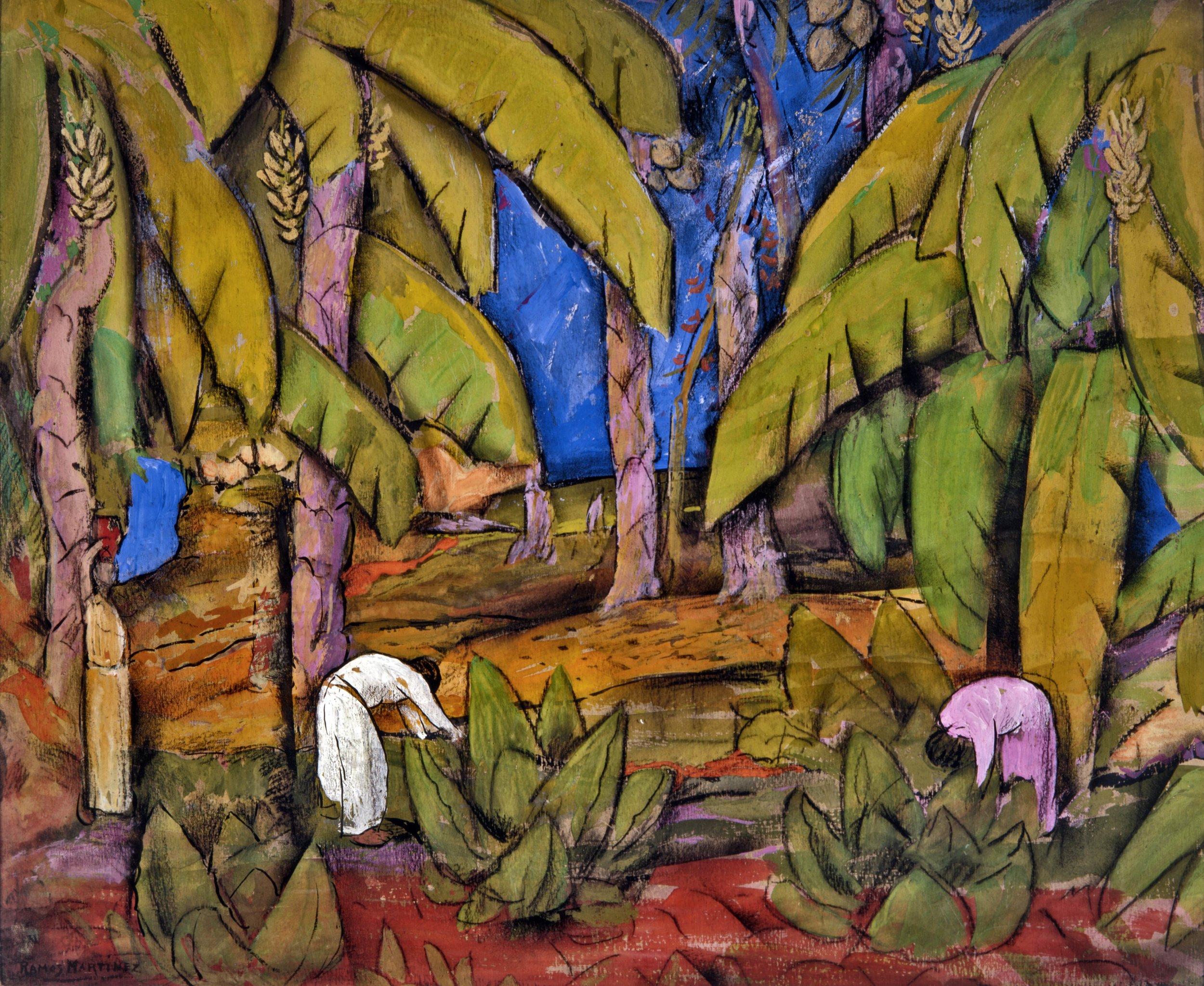 Platanal / Banana Plantation  ca. 1939 tempera, pastel and charcoal on paper / temple, pintura al pastel y carbón sobre papel 18 x 22 inches; 45.7 x 55.9 centímetros Private collection