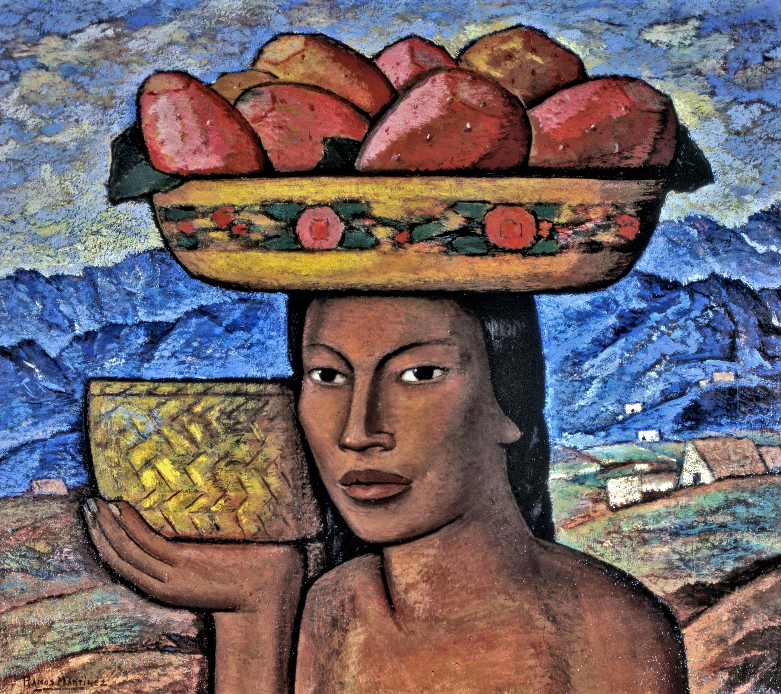 Vendedora de Tunes / Prickly Pear Vendor  ca. 1933 oil on board / óleo sobre tabla 18 x 21 inches; 45.7 x 53.3 centímetros Private collection