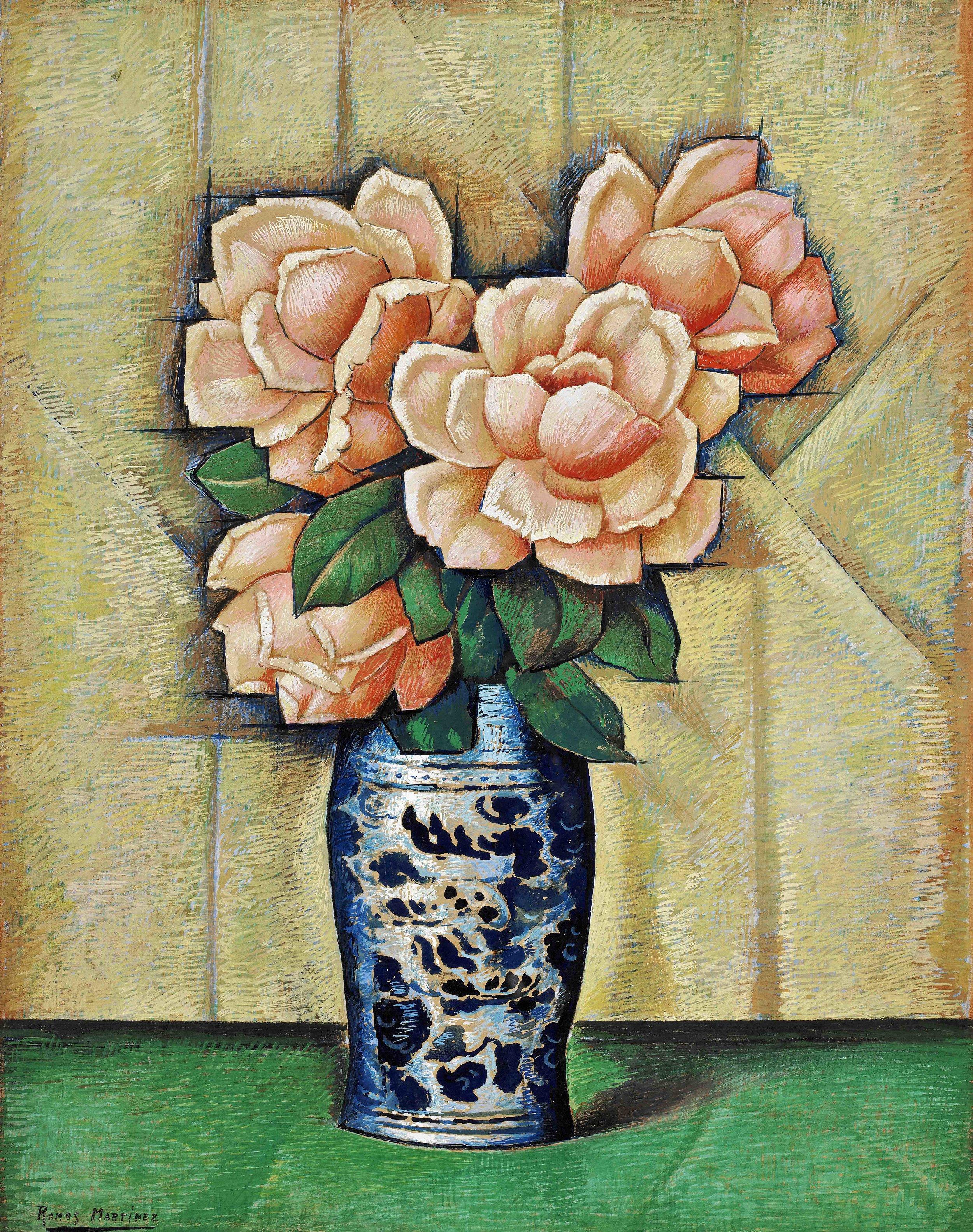 Rosas en Jarrón Azul / Roses in a Blue Vase  ca. 1940 tempera on paper mounted on board / temple sobre papel sobre tabla 24 x 19 inches; 61 x 48.3 centímetros Private collection