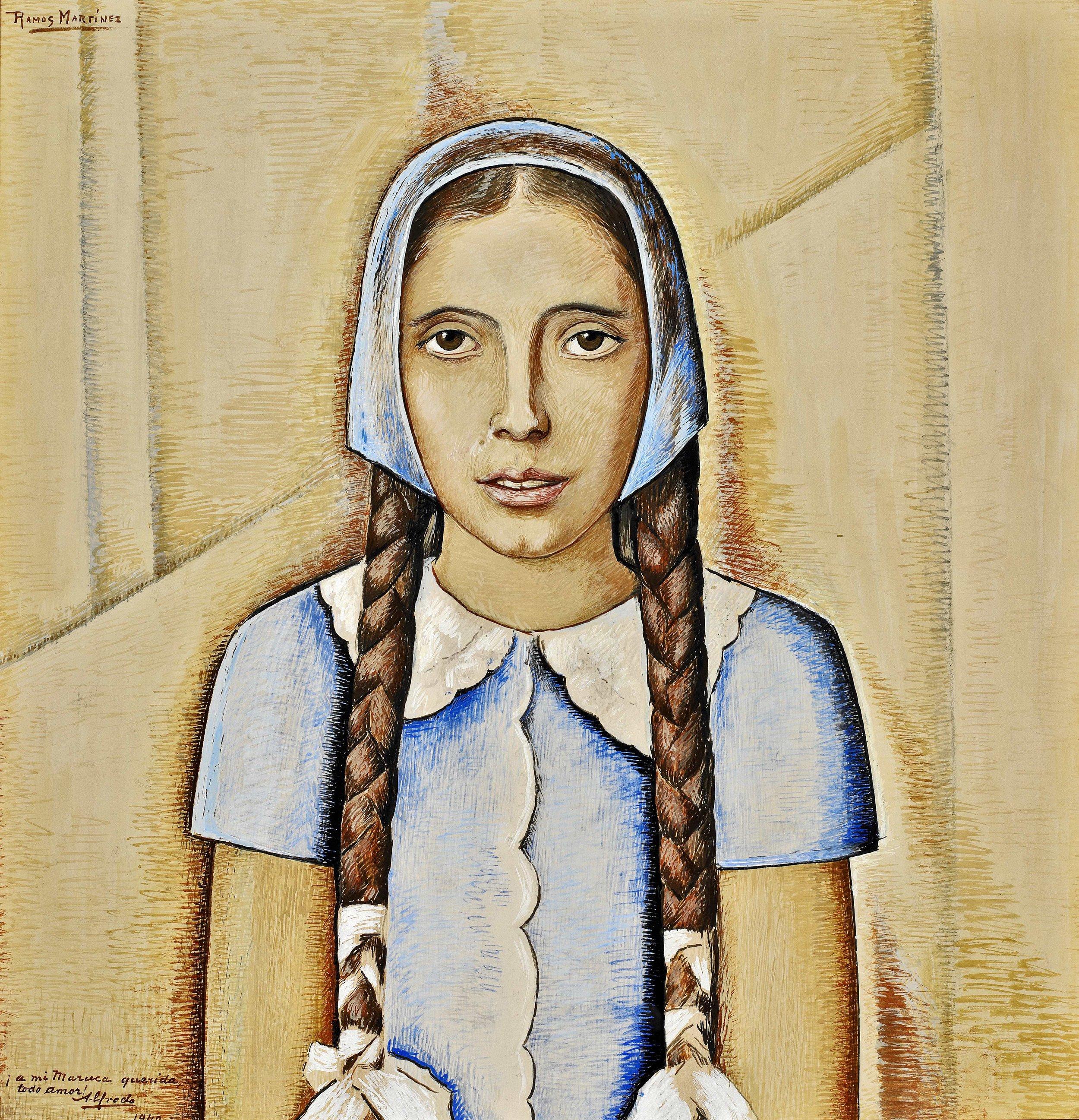 Retrato de su Hija Maria a los Once Años de Edad / Portrait of Maria, Age Eleven  1940 tempera on board / temple sobre tabla 22.3 x 21 inches; 56.5 x 53.3 centímetros Private collection