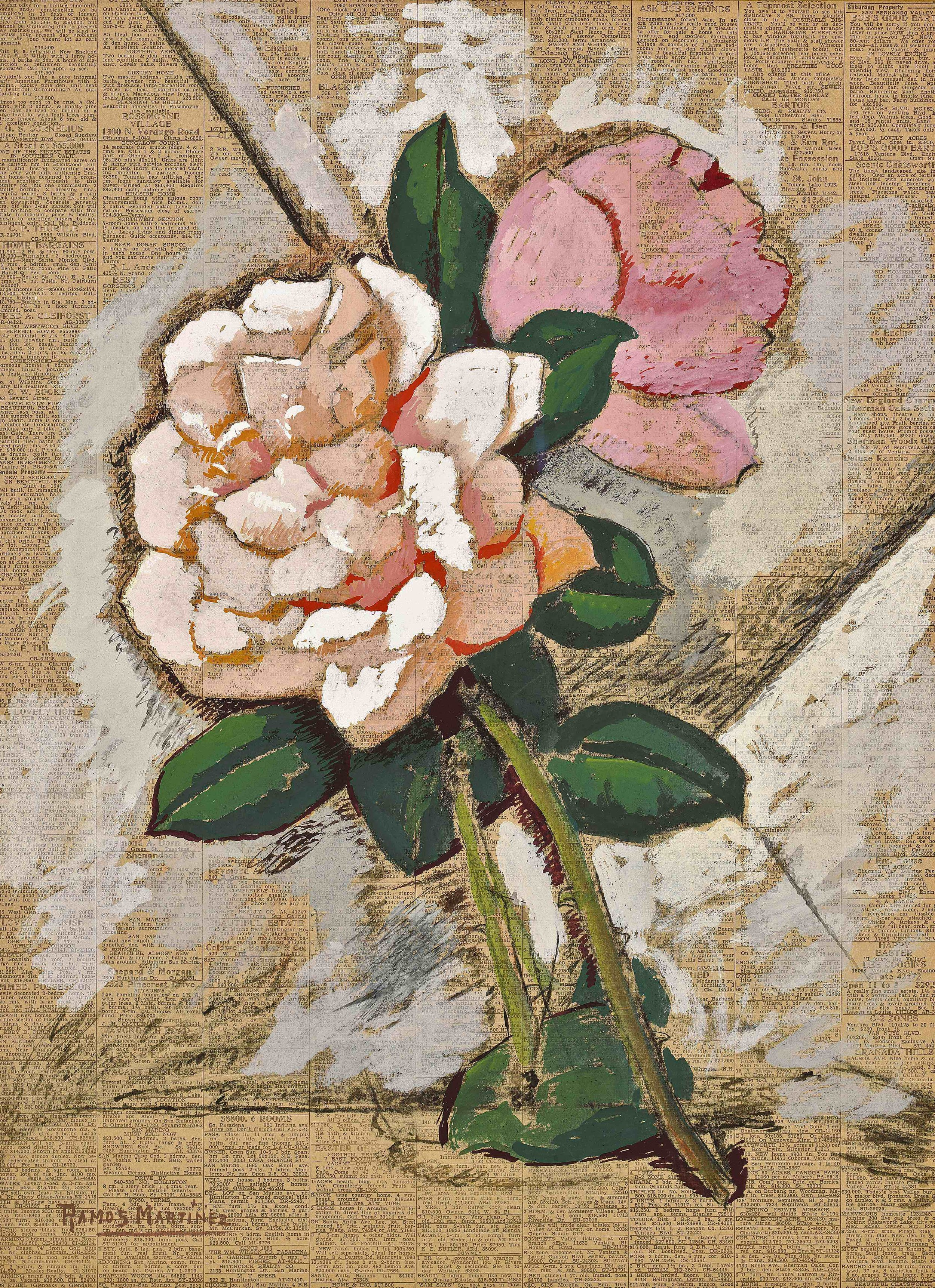 Flores / Blossoms  1946 tempera on newsprint / temple sobre papel periódico 22.5 x 16.5 inches; 57.2 x 41.9 centímetros
