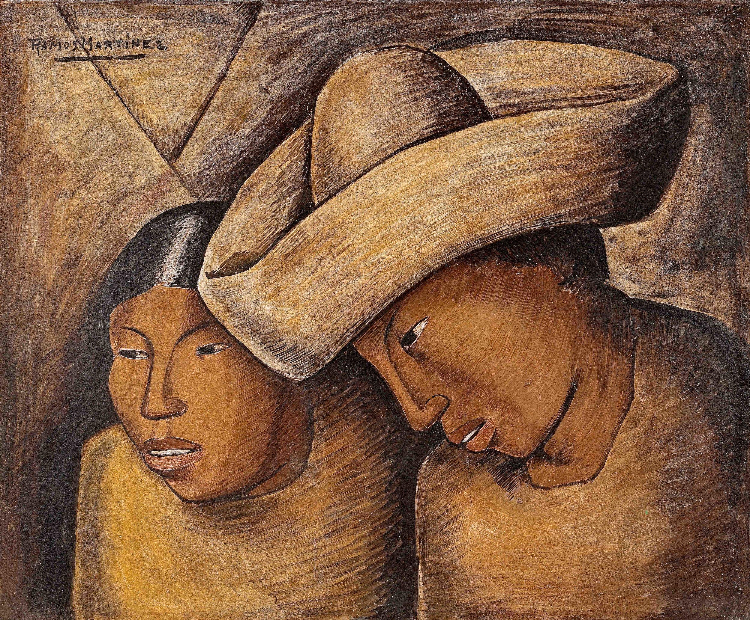 Juan y Lupe / Juan and Lupe  1940 fresco on fiber board / fresco sobre tabla de fibra vulcanizada 18.5 x 22.5 inches; 47 x 57.2 centímetros Private collection