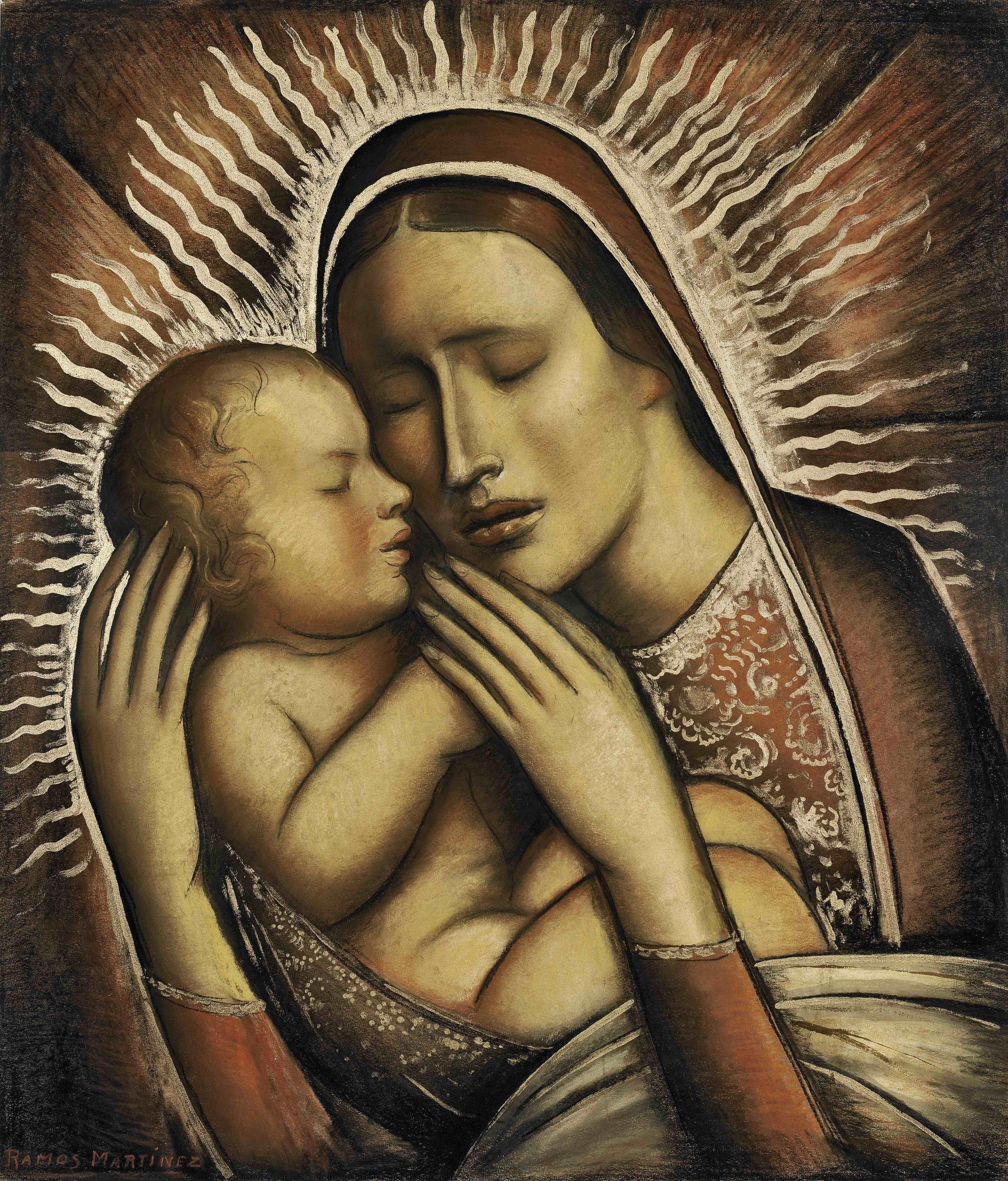 La Virgen y el Niño / The Virgin and Child  ca. 1941 tempera, gold leaf and charcoal on board / temple, oro en hoja y carbón sobre tabla 25 x 21.3 inches; 63.5 x 54 centímetros Private collection