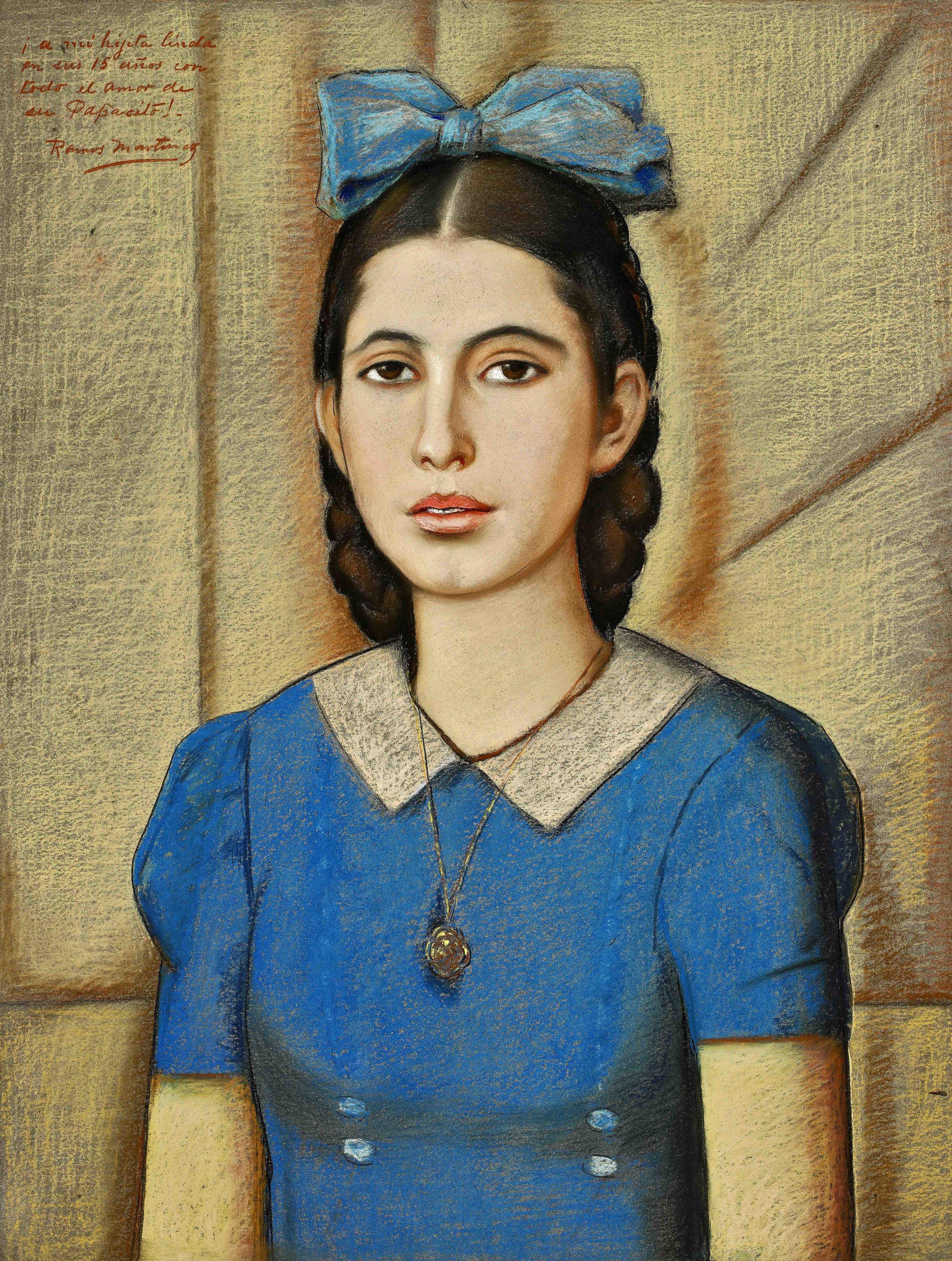 Retrato de María Años Quince / Portrait of Maria at Fifteen  1943 pastel and charcoal on board / pintura al pastel y carbón sobre tabla 26.5 x 19.5 inches; 67.3 x 49.5 centímetros