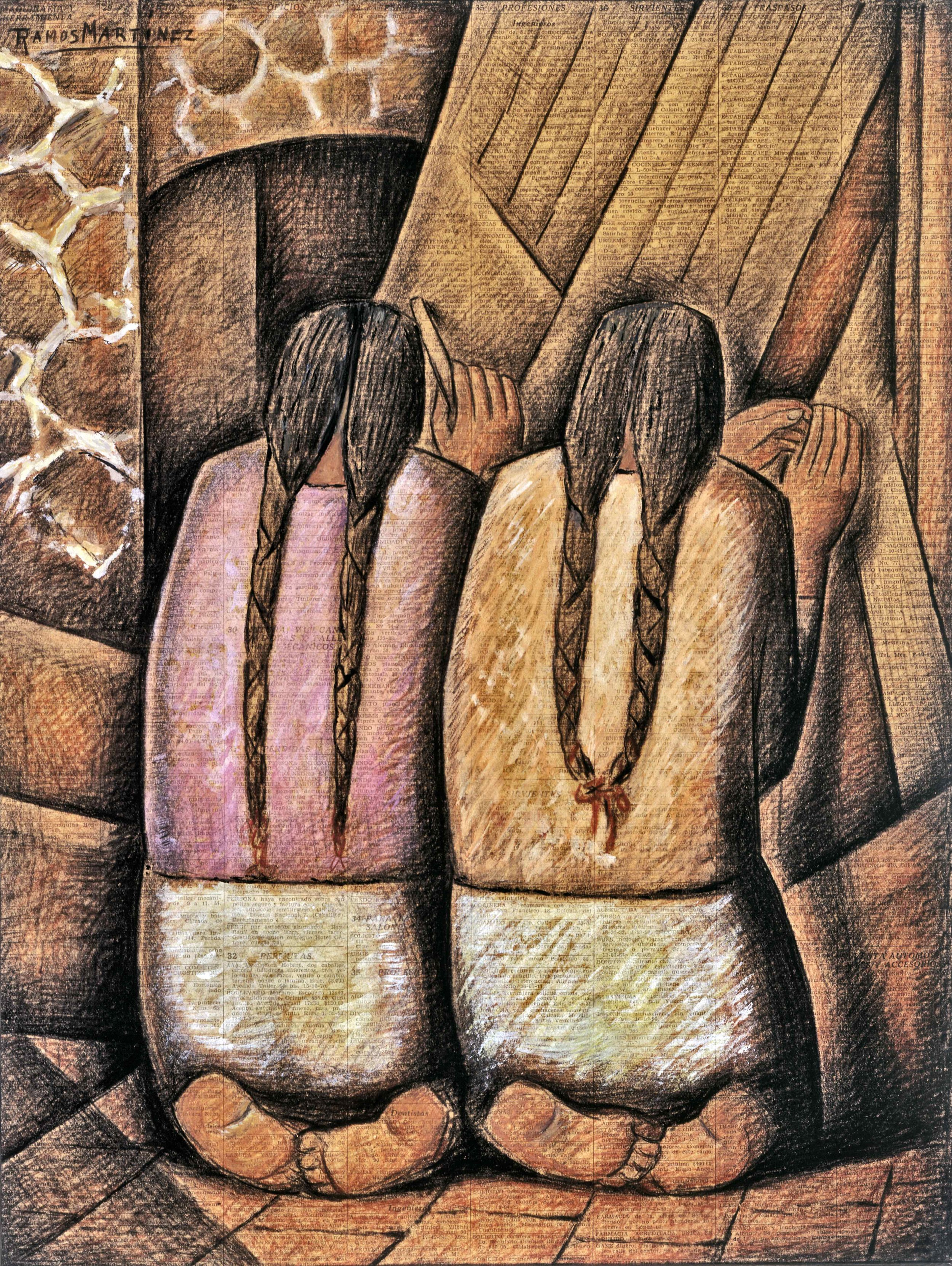 Las Tejedoras / The Weavers  1944 tempera and charcoal on newsprint / temple y carbón sobre papel periódico (El Universal, September 3, 1944) 21 x 16 inches; 53.3 x 40.6 centímetros University of Arizona Museum of Art