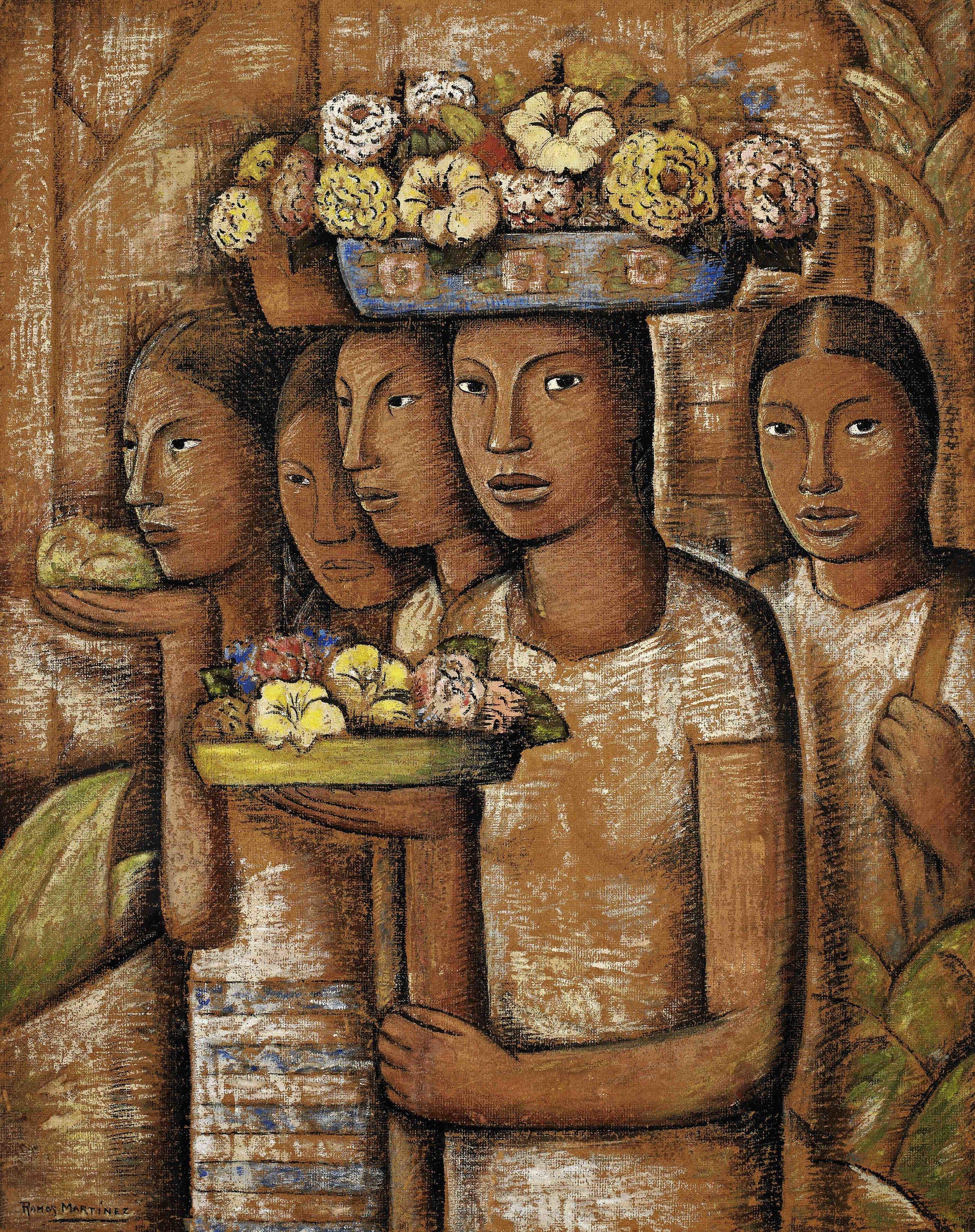 Mujeres Indígenas de Oaxaca / Native Women from Oaxaca  1944 oil on board / óleo sobre tabla 44.8 x 35.5 inches; 113.7 x 90.2 centímetros