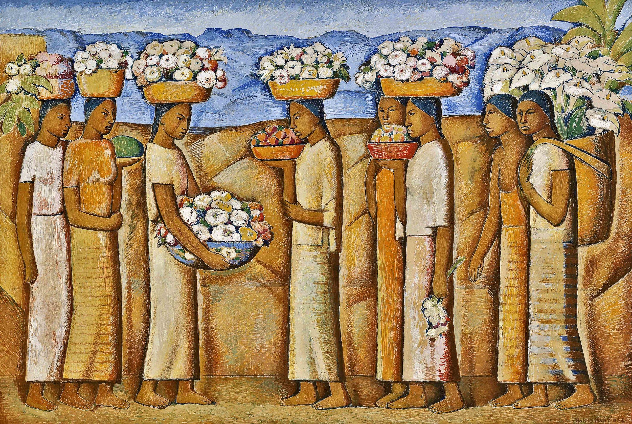 Vendedoras de Flores / Flower Vendors  ca. 1946  tempera on board / temple sobre tabla 20 x 29.8 inches; 50.8 x 75.6 centímetros