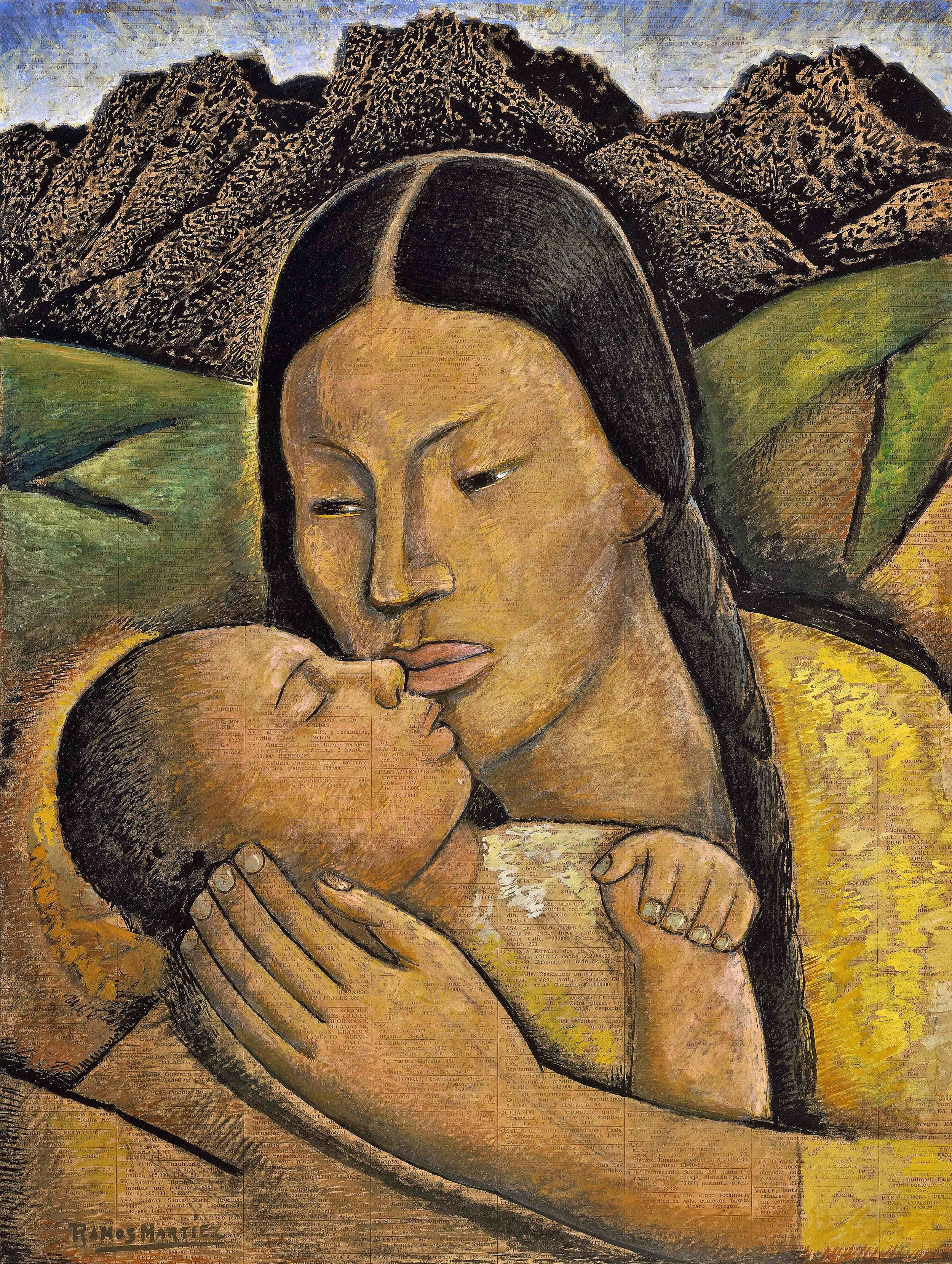 Madre y Niño / Mother and Child  ca. 1945 tempera on newsprint / temple sobre papel periódico (El Universal) 20.8 x 15.8 inches; 52.7 x 40 centímetros Private collection