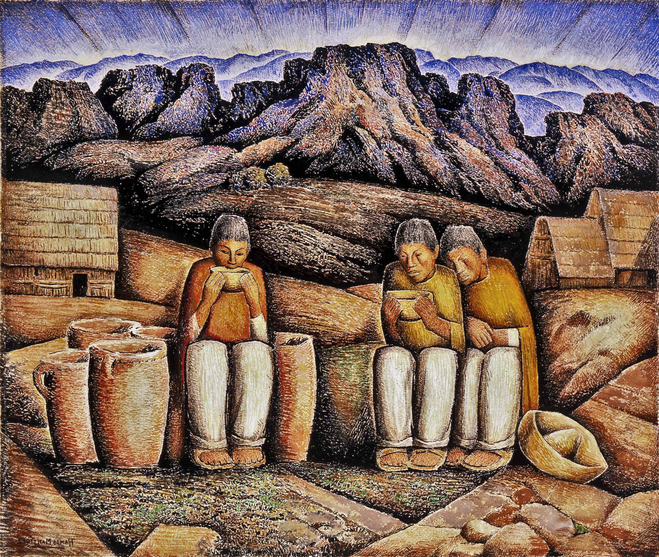 Bebiendo Pulque (Paisaje de Montañas) / Drinking Pulque (Mountain Landscape)  ca. 1940 gouache and tempera on paper / aguada y temple sobre papel 22 x 26 inches; 55.9 x 66 centímetros Private collection