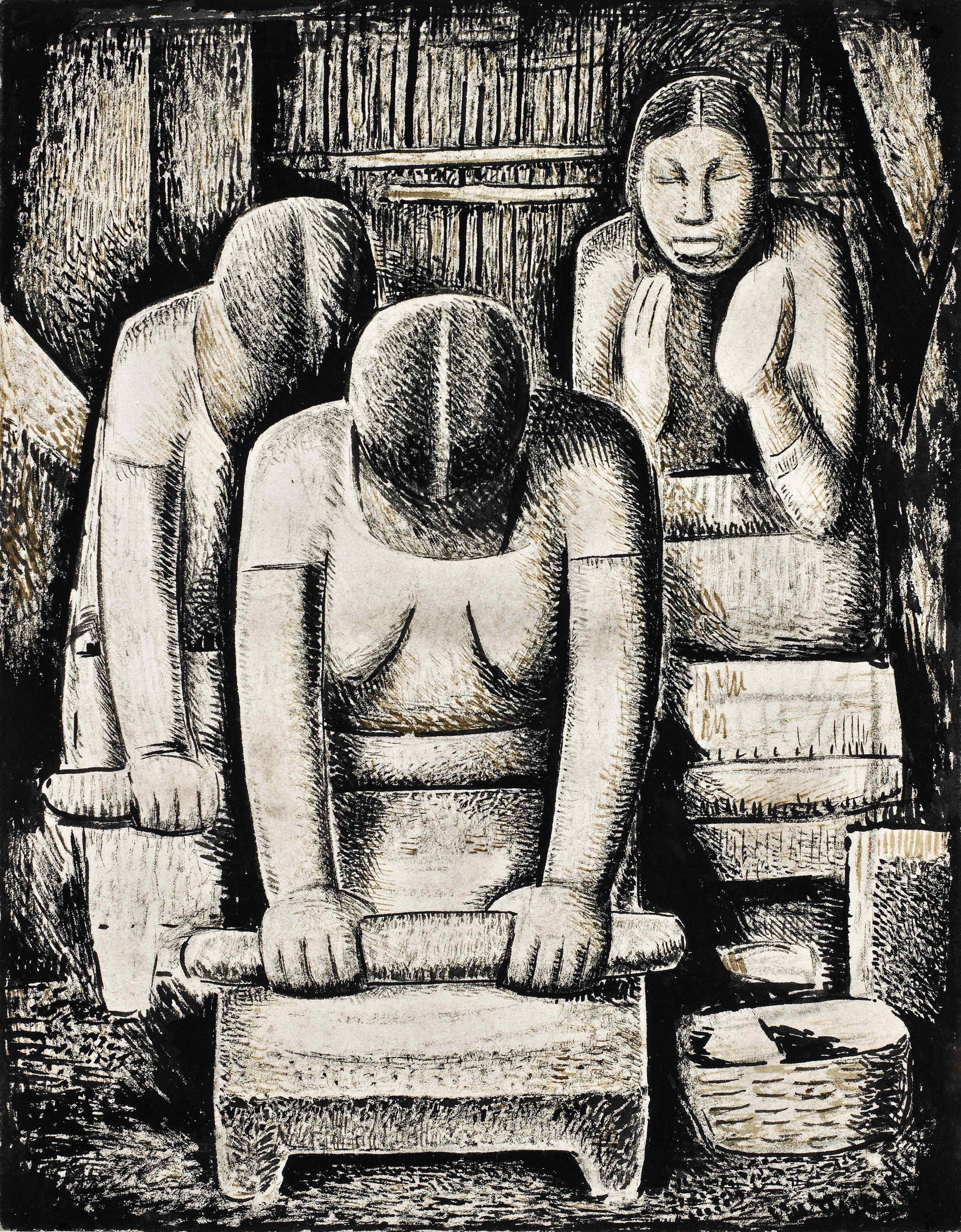 Las Tortilleras / The Tortilla Makers  ca. 1938 tempera on paper / temple sobre papel 11.8 x 9.4; 29.8 x 23.8 centímetros Private collection