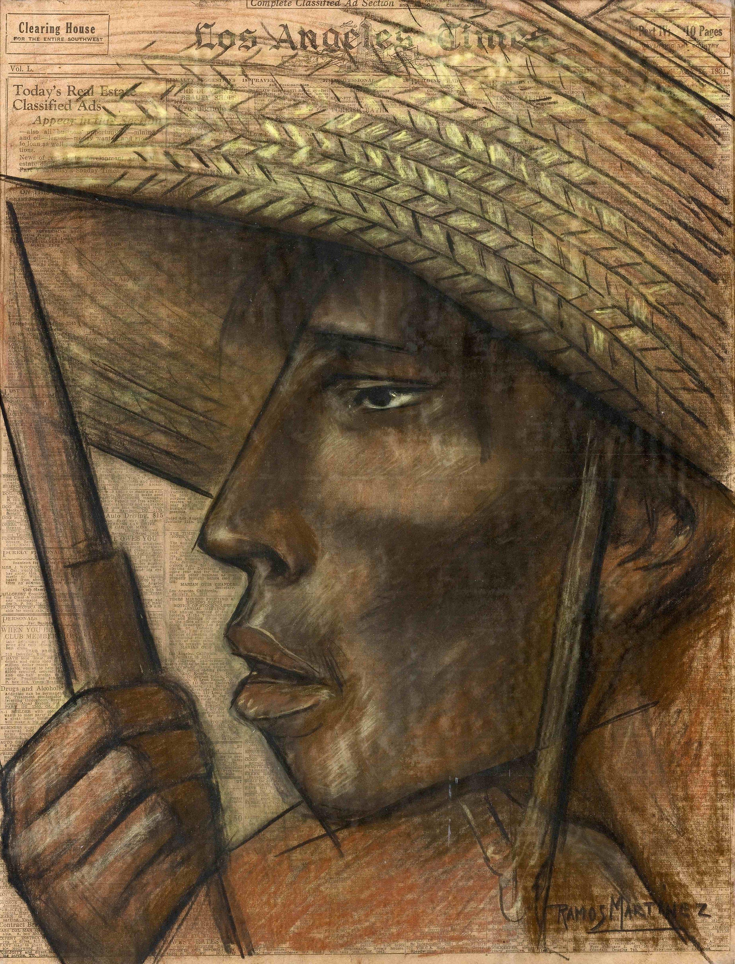Cabeza de Campesino / Head of a Peasant  1931 charcoal and Conté crayon on newsprint / carbón y crayon Conté sobre papel periódico ( Los Angeles Times , January 25, 1931) 21.9 x 16.6 inches; 55.6 x 42.2 centímetros Private collection