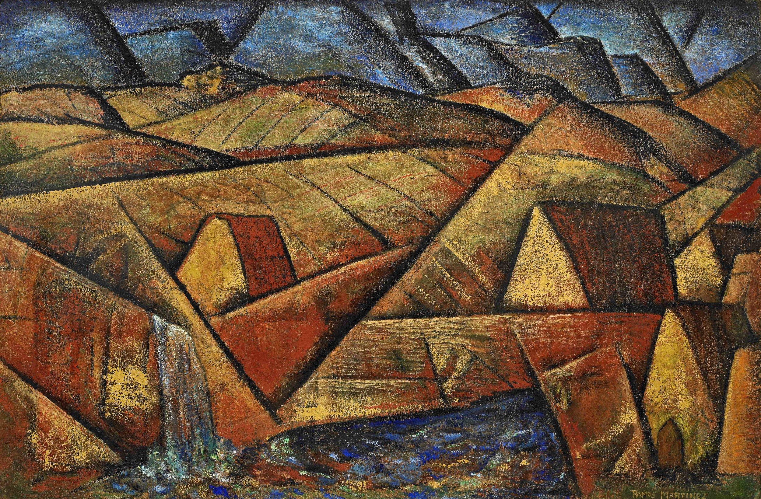 Lomas y Montañas / Hills and Mountains  1940 oil on board / óleo sobre tabla 23.5 x 35.5 inches; 59.7 x 90.2 centímetros Private collection