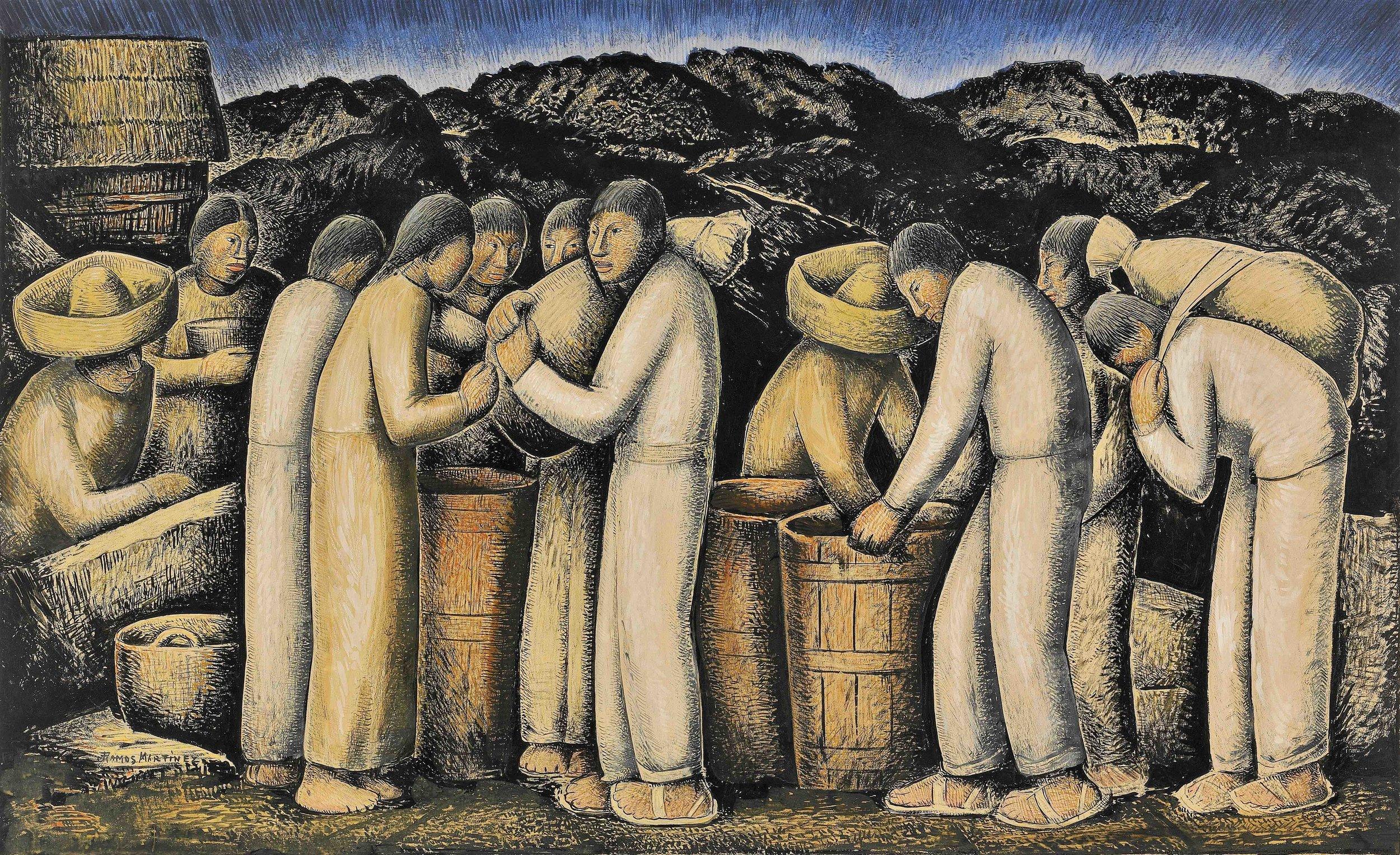 Los Pulqueros / Making Pulque  ca. 1935 tempera on paper / temple sobre papel 14.3 x 23.5 inches; 36.2 x 59.7 centímetros