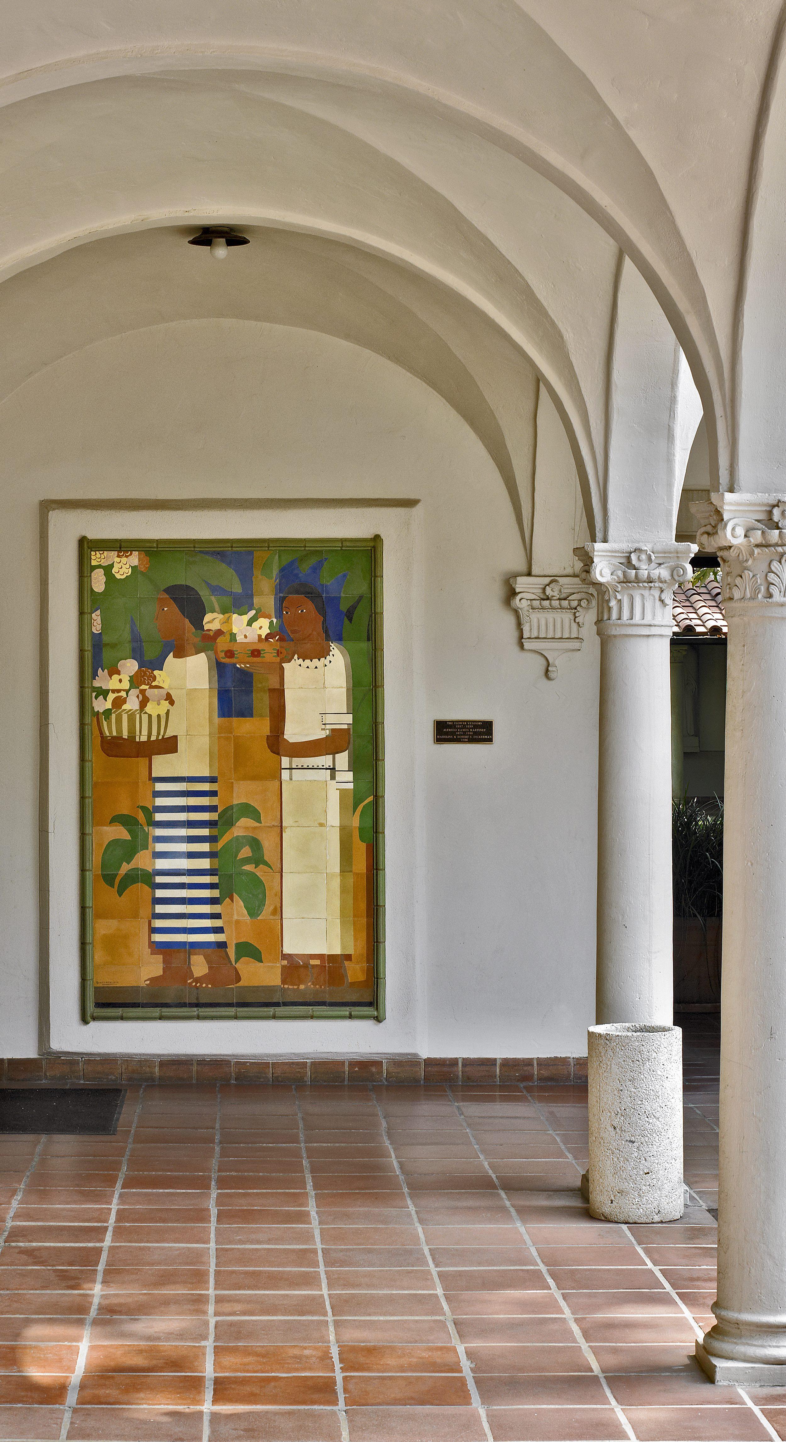 Vendoras de Flores / Flower Vendors  ca. 1937 ceramic tile on stucco / azulejo cerámica sobre cemento 78 x 47.25 inches; 98.1 x 120 centímetros Scripps College