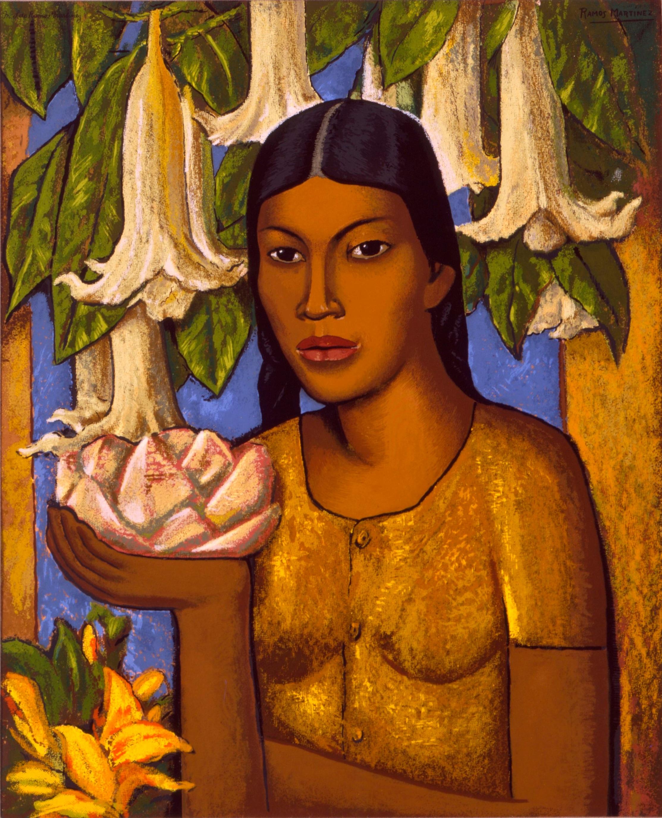 La India de los Floripondios / Indian Girl with Trumpet Flowers  ca. 1932 oil on canvas / óleo sobre tela 30 x 24 inches; 76.2 x 61 centímetros Private collection