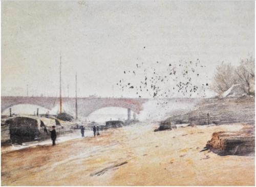 La Seine    ca 1904, watercolor on cardboard / acuarela sobre cartón 15.7 x 20.6 inches, 39.9 x 52.3 centímetros Museo Nacional de Arte, iNBA, Mexico