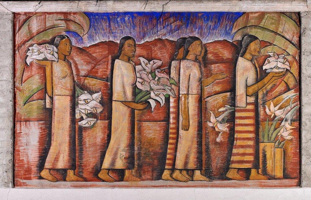 Vendedoras de Flores (The Flower Vendors)  Nine panel mural placed on the south wall, 1945-1946 103 feet long Margaret Fowler Memorial Garden, Scripps College