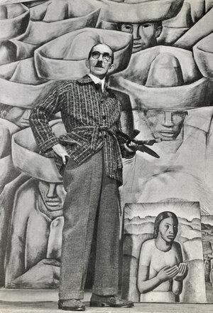 Alfredo Ramos Martinez in Los Angeles, 1941. in the background, a drawing for the unexecuted mural, Los Charros del Pueblo.