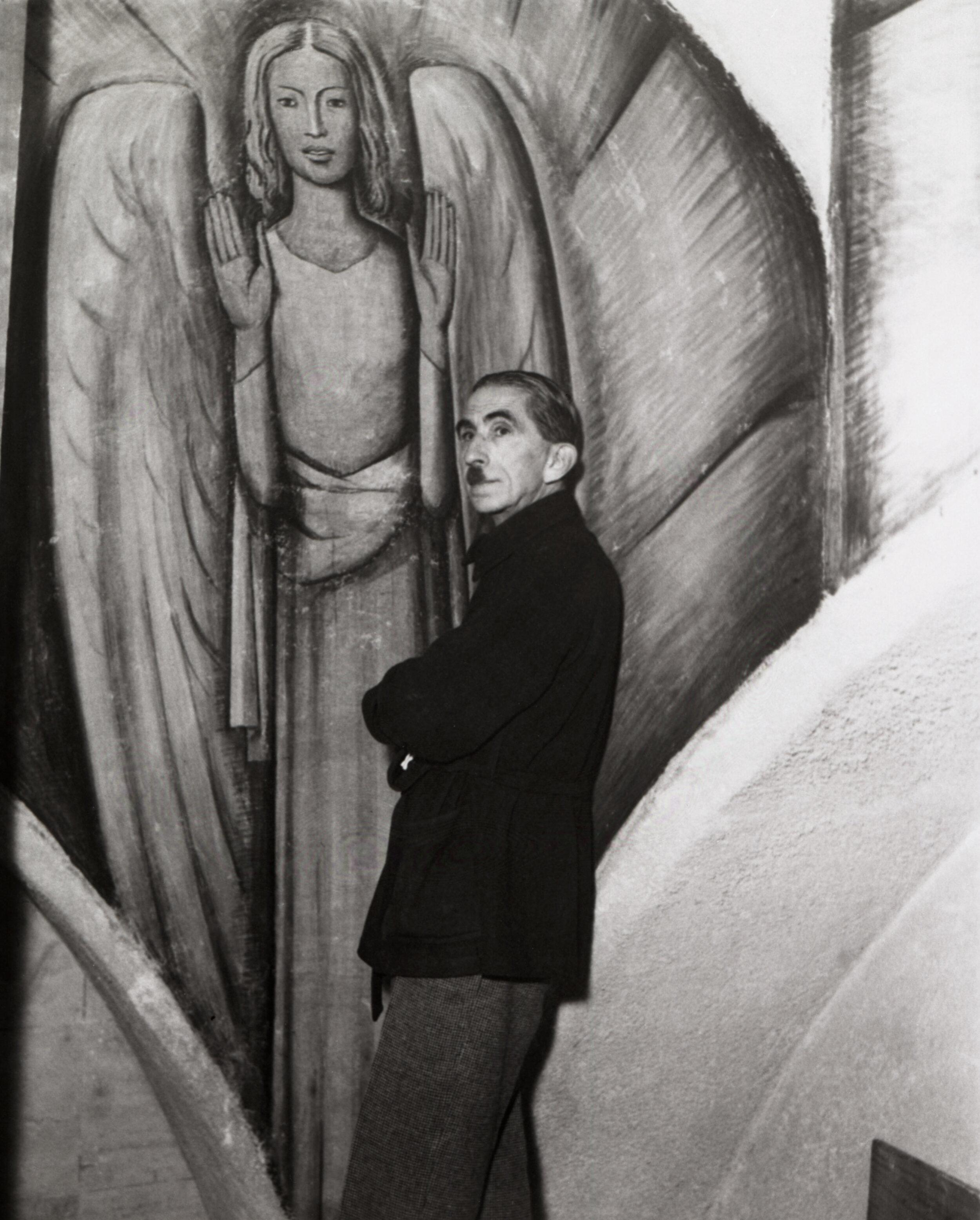 Alfredo ramos Martinez painting in the Chapel of the Santa Barbara Cemetery, 1934