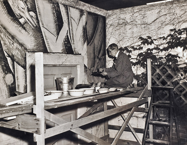 """Ramos Martinez working on the """"Flower Vendors"""" murals at Scripps College, 1946"""