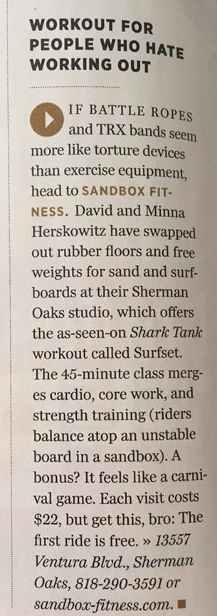Sandbox was featured in this months Best of LA issue of the Los Angeles Magazine as one of 93 things you'll LOVE in LA! How Awesome!