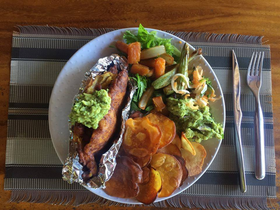 Sweet Potato Chips, Guacamole, Plantain, Leek, & Kidney Bean Empanadas, Pico De Gallo, & Veggie Fajitas.