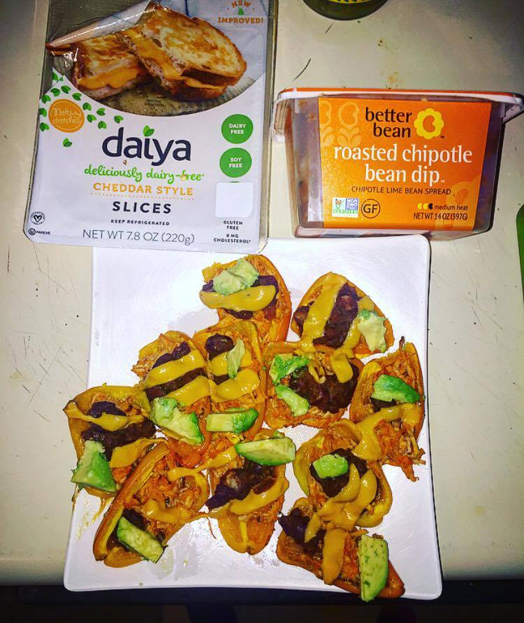 RECIPE:  http://www.fitbritla.com/home/2016/11/16/recipe-trade-the-chips-for-these-healthy-bell-pepper-buffalo-chicken-nachos-vegan-option