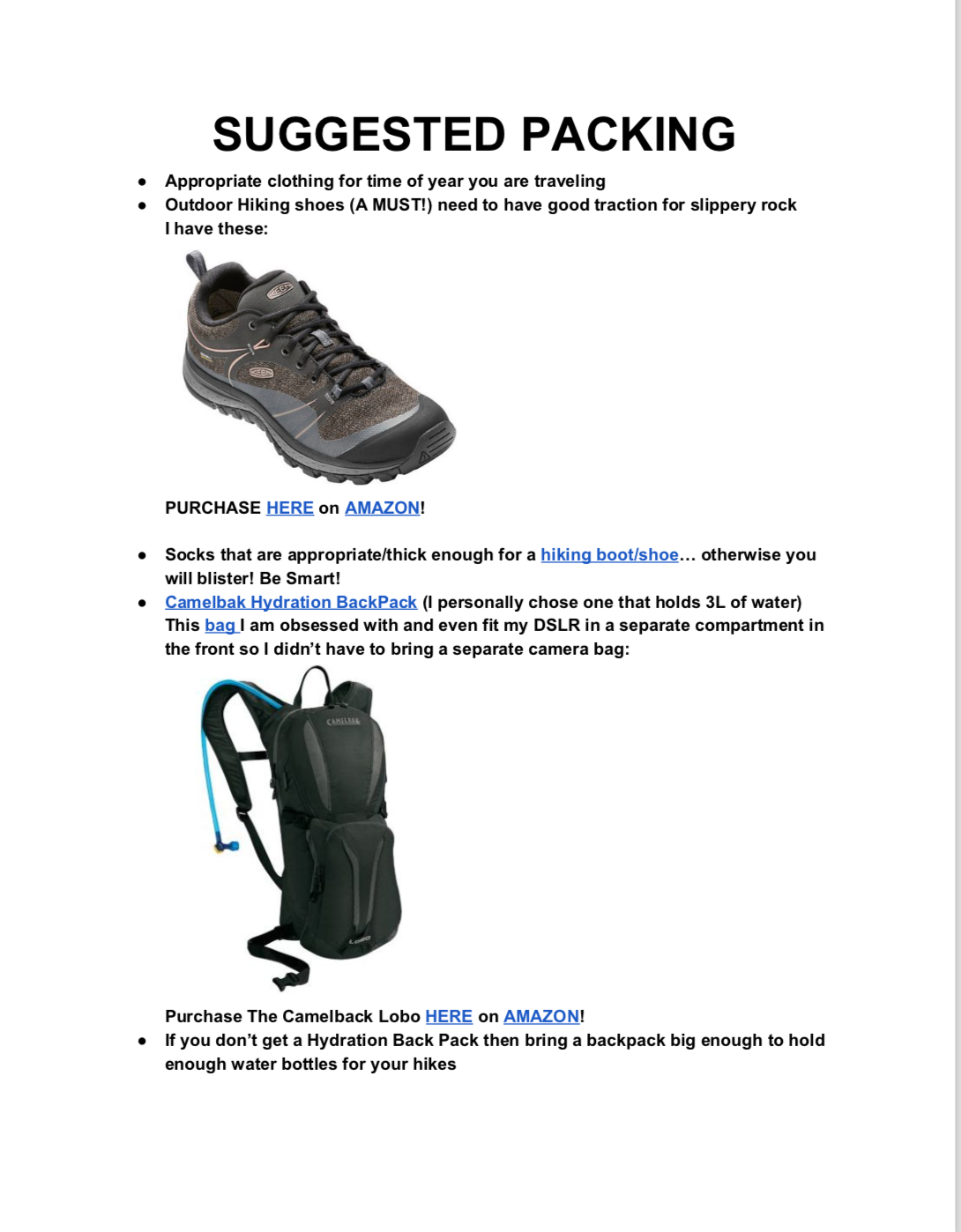 CLICK FOR COMPLETE PACKING LIST