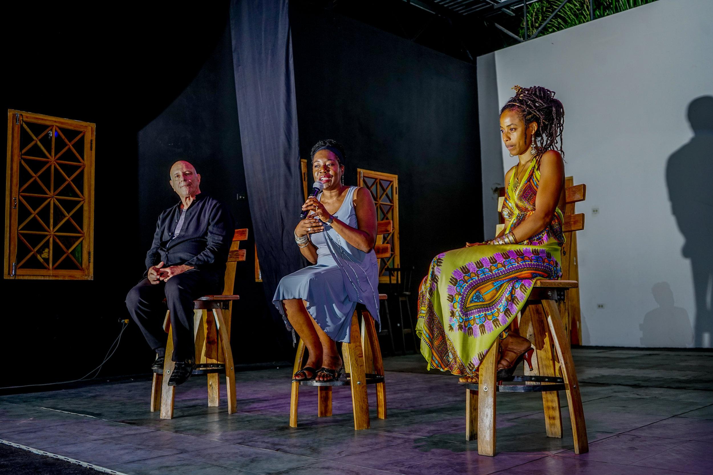 Pictured Left to Right:  Stuart Samuels Prod/Dir/Writer, Renee Robinson Jamaica Film Commissioner,   Donisha Prendergast, Star of film & Actor/Public Speaker/Filmmaker/Partner DSE Jamaica
