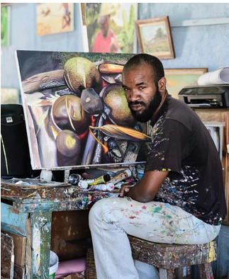 MARK BELL - Mark Bell is a deeply talented artist whose work include portraits,                                           landscape, fine arts, abstracts and more. The Jamaica Cultural Development Commission Art awardee has his works on display locally and internationally.Mark has worked with prominent interior designer Jianne Legere. His portraits include Usain Bolt, The Governor General of Jamaica and other leading figures.His abstract pieces have been commissioned by the China Harbour Company.He is very active in the promotion and development of young local artists in Portland, hosting numerous exhibitions to showcase their talent.