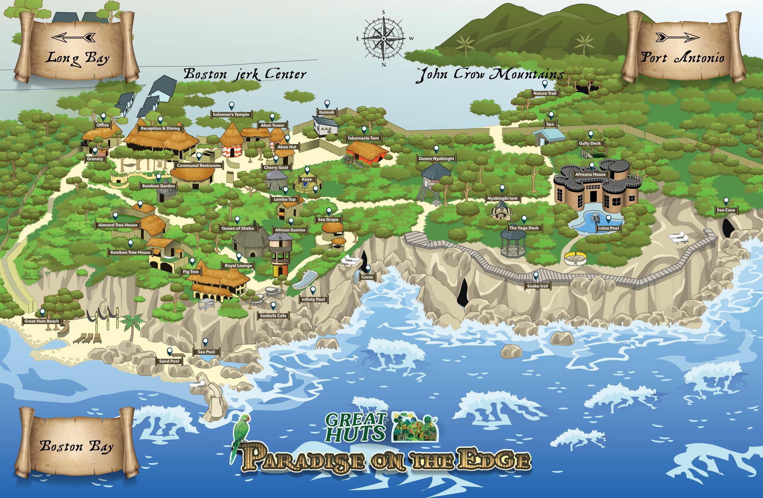 great huts map