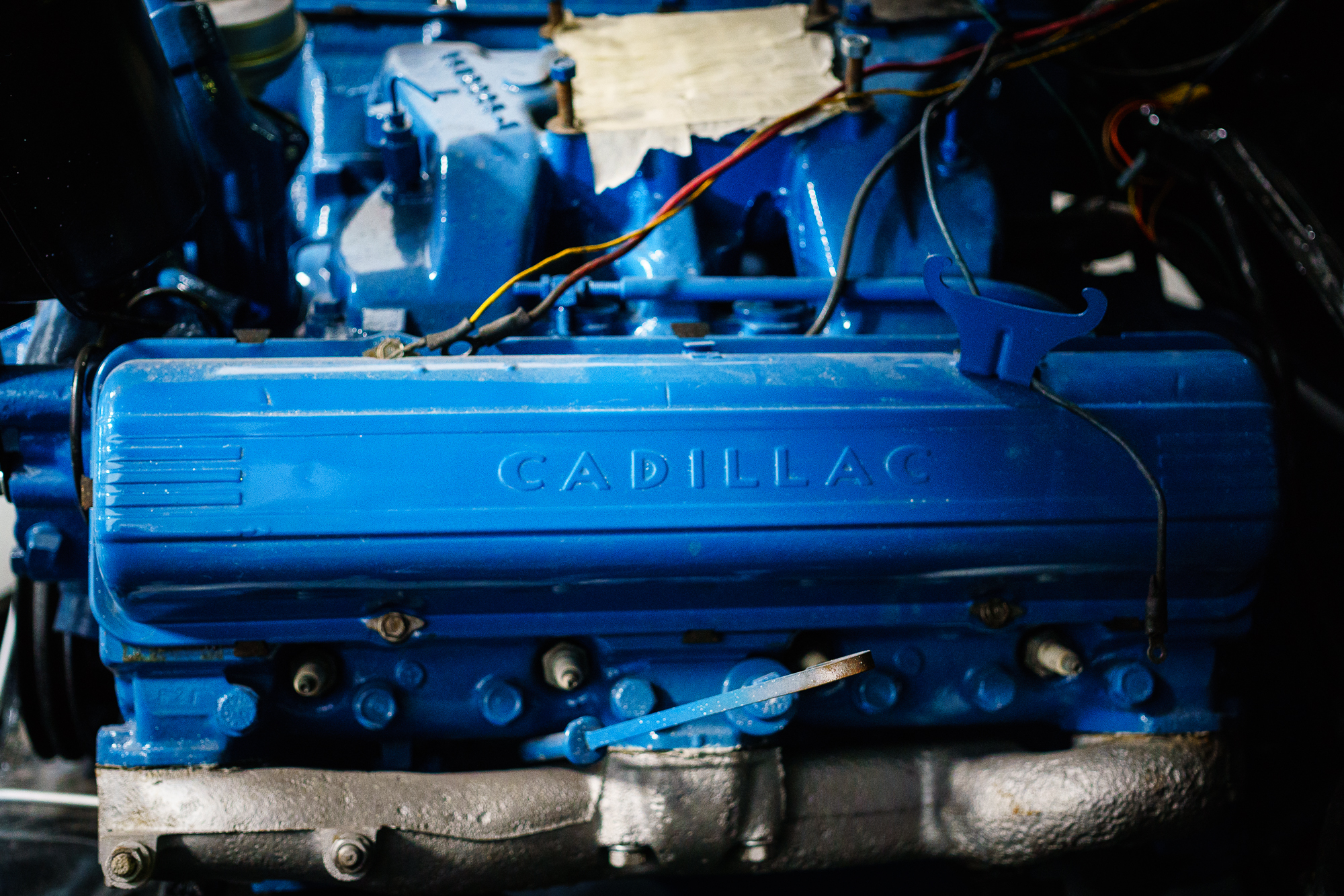 Blue Cadillac V8 motor