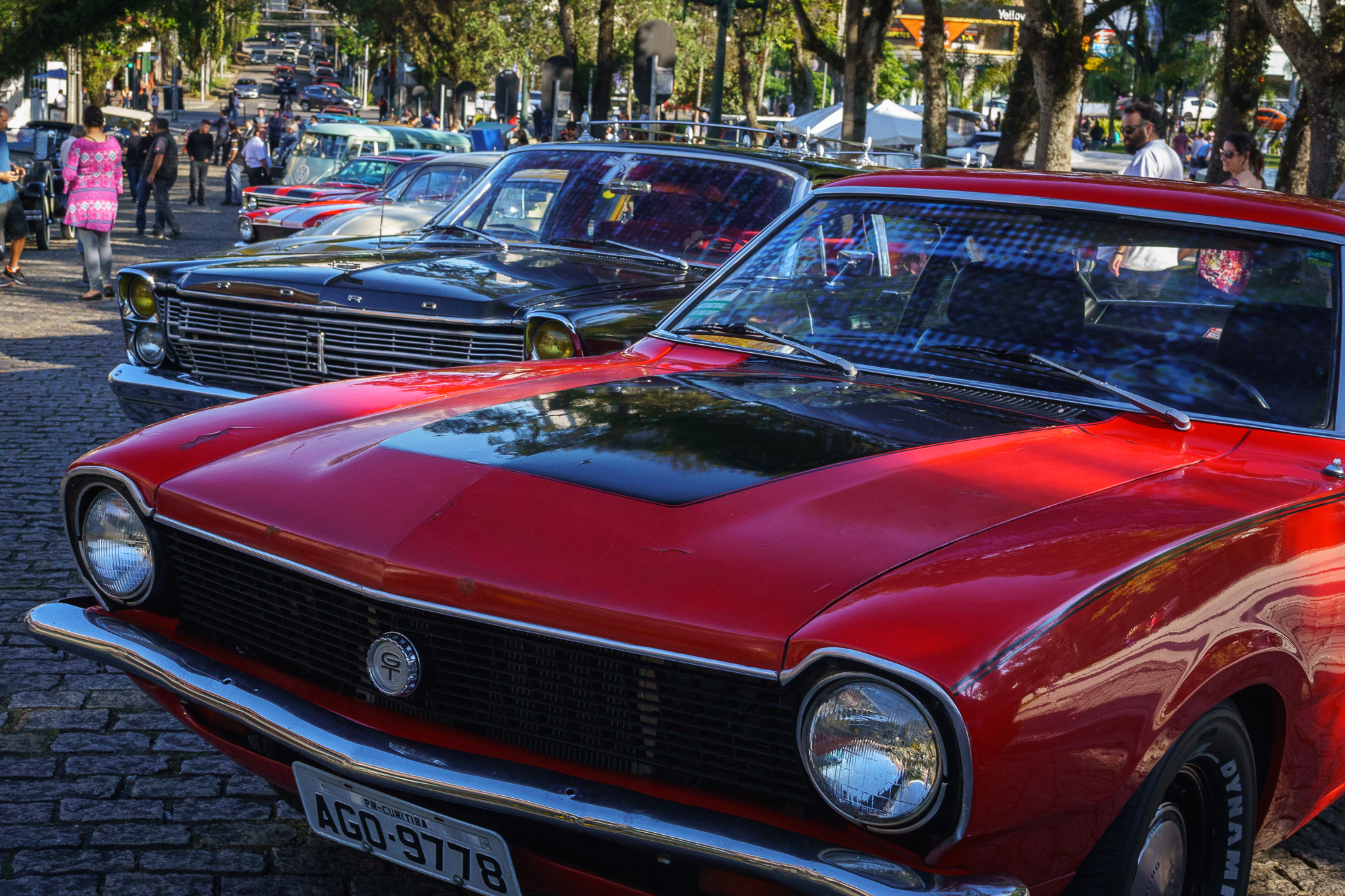 Ford Maverick in front of a row of cars