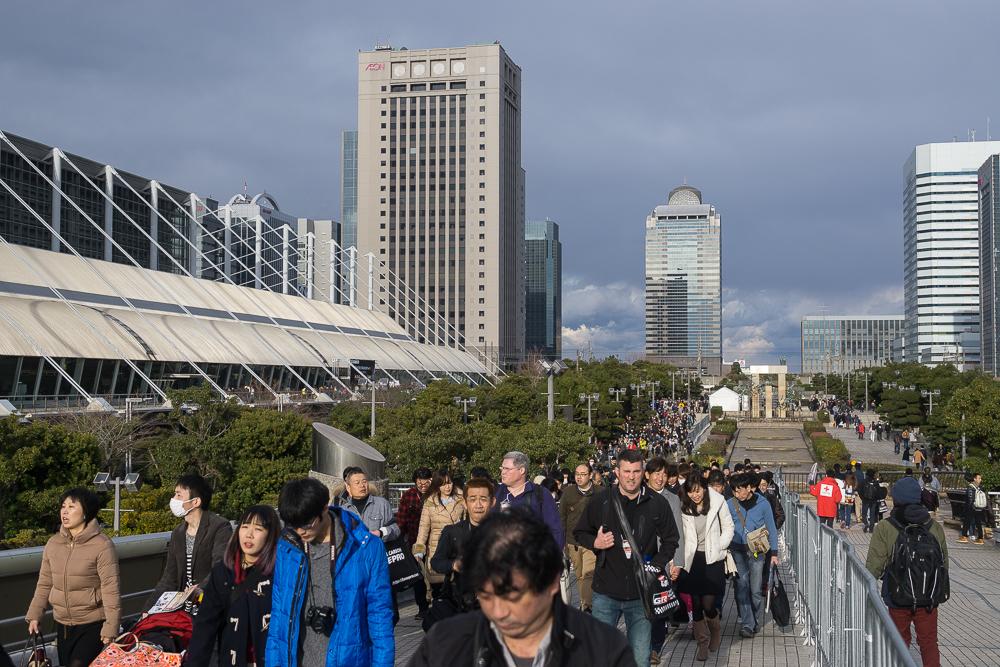 Crowd outside the Tokyo Auto Salon