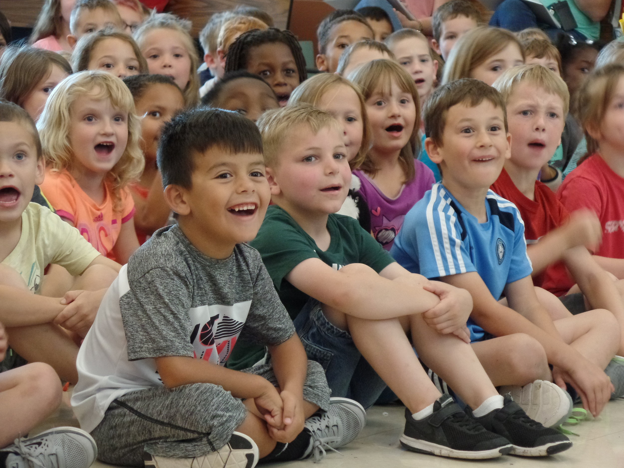 K - 2nd graders watch a performance in Allen, Texas