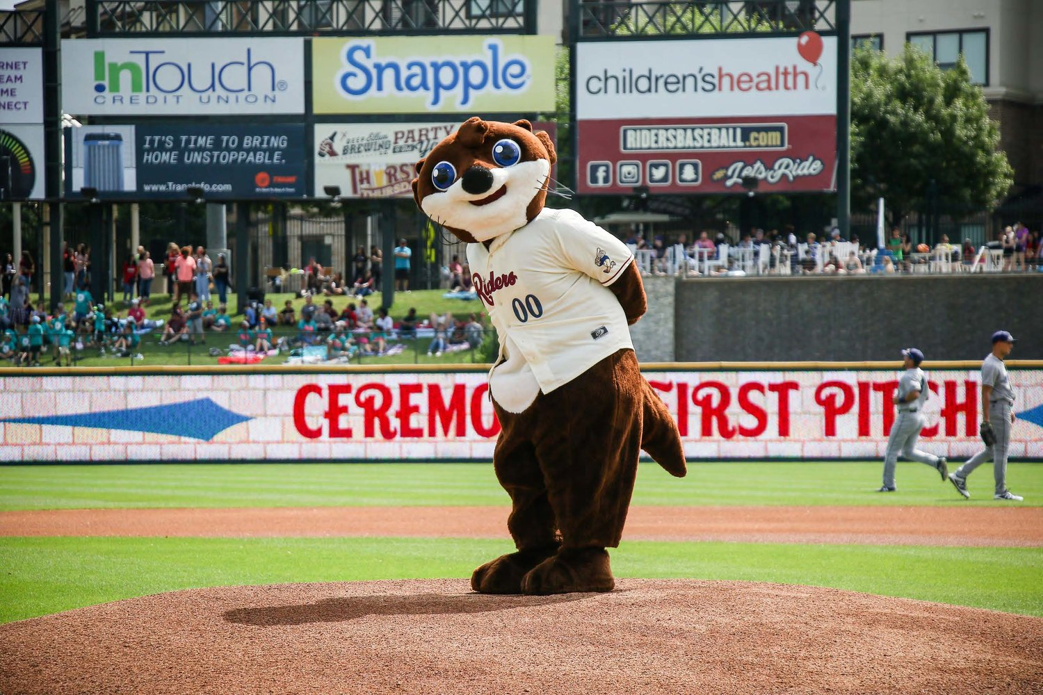 Otis the Otter throwing out the first pitch