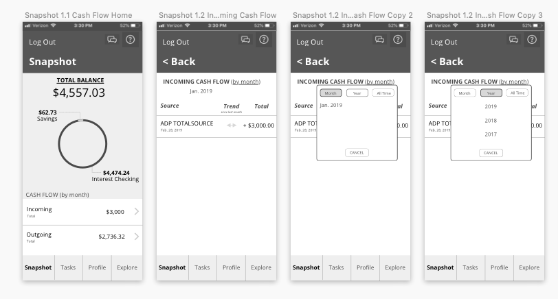 "Ally Bank app redesign, ""Check Cash"" flow"