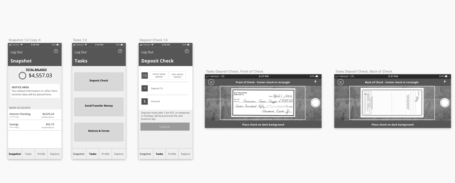 "Ally Bank app redesign, ""Deposit a Check"" flow"