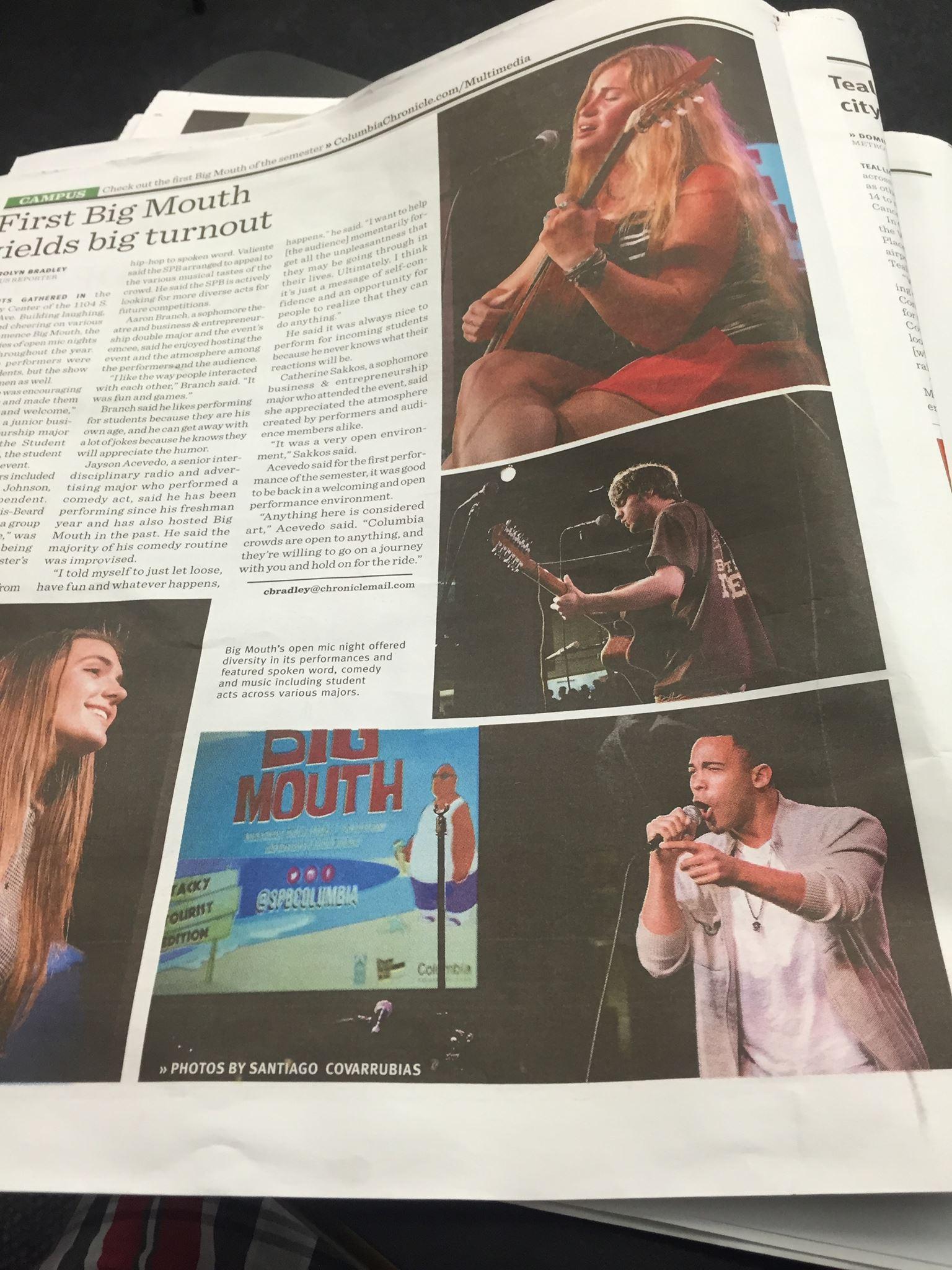 Columbia Chronicle article Sept 2015.jpg