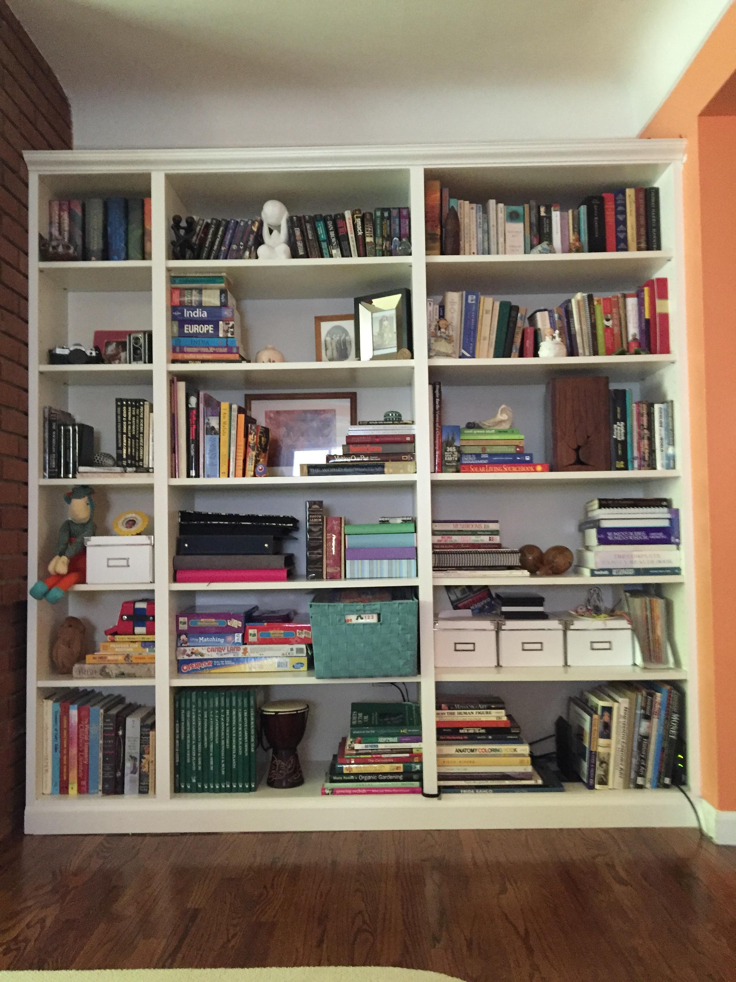 The right side bookshelf......