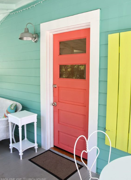 Image Credit:  HouseOfTurquoise.com   This is awesome.  Coral door, check.  TURQUOISE siding....I need this. Can you paint siding?  And neon yellow shutters?! Hmmmm....I'm getting more ideas!