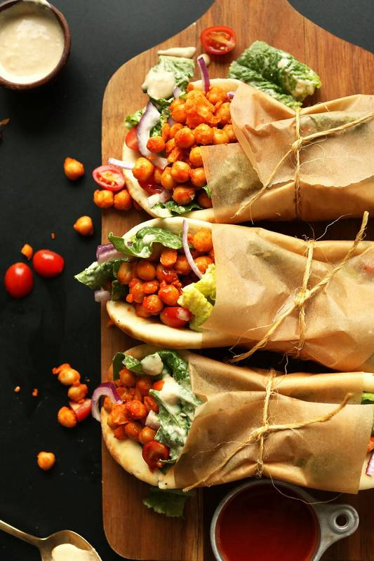 Spicy Buffalo Chickpea Wraps - Yum! - Click for recipe from MinimalistBaker.com