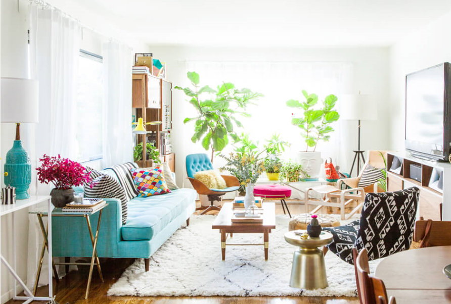 This gorgeous room is chock full of vintage/second-hand pieces.  Image Credit:  Bri Emery's house done by Emily Henderson