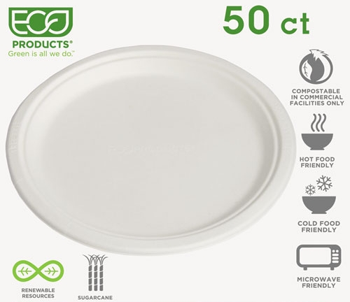 """EcoProducts 10"""" plates - 50 ct. for $12.39"""