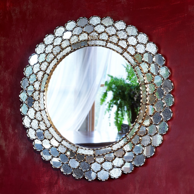 Glowing Petals Mirror  - $395 - wood and mirror