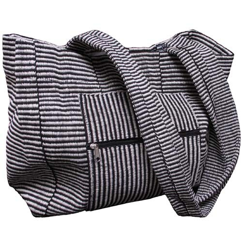 Cotton Weave Tote to Go  - $40 - This is soooo cool. I love black and white stripes! - Made in India
